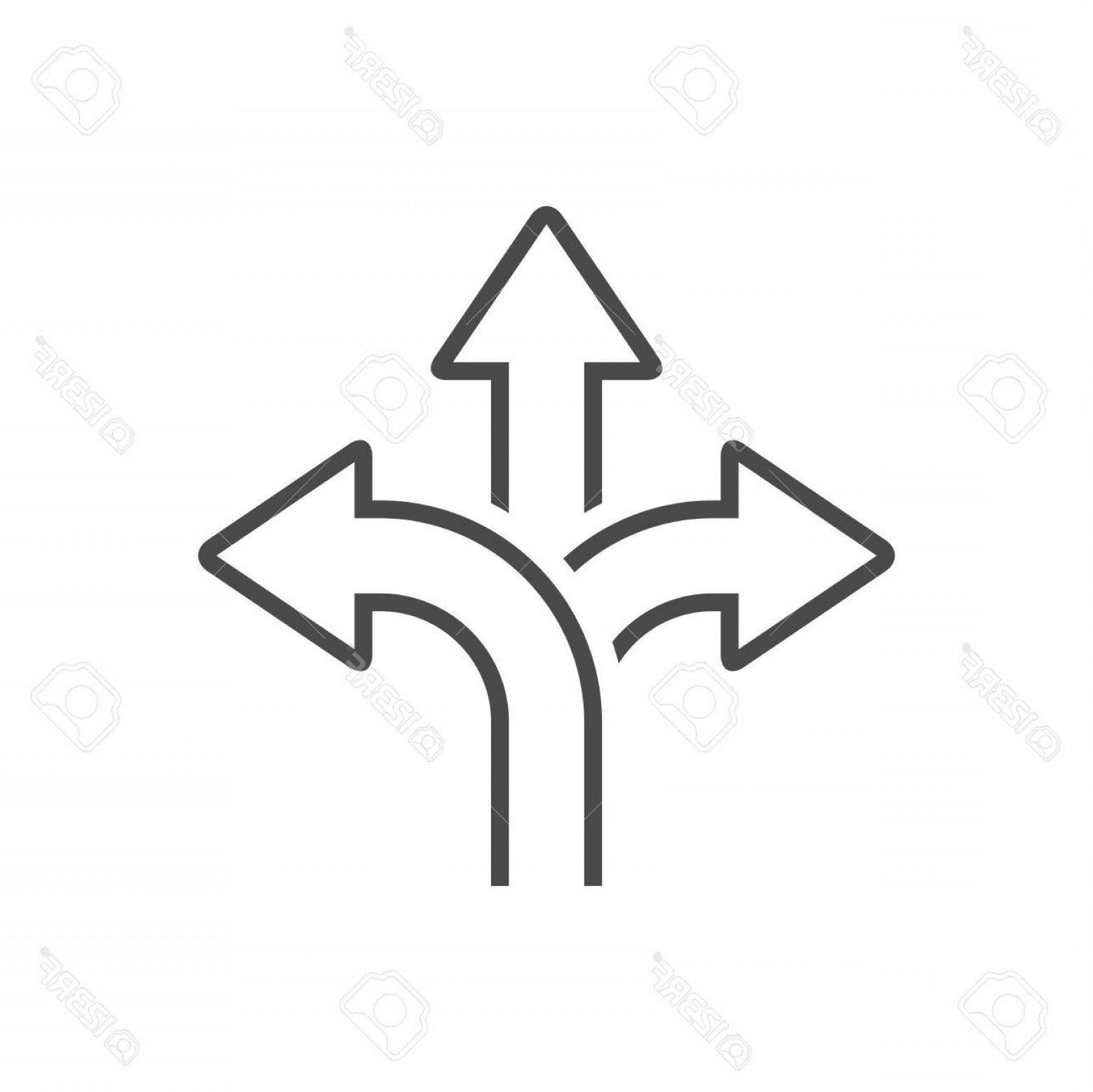 Vector Signal Direction: Photostock Vector Three Way Direction Arrow Icon Road Sign Direction Signal