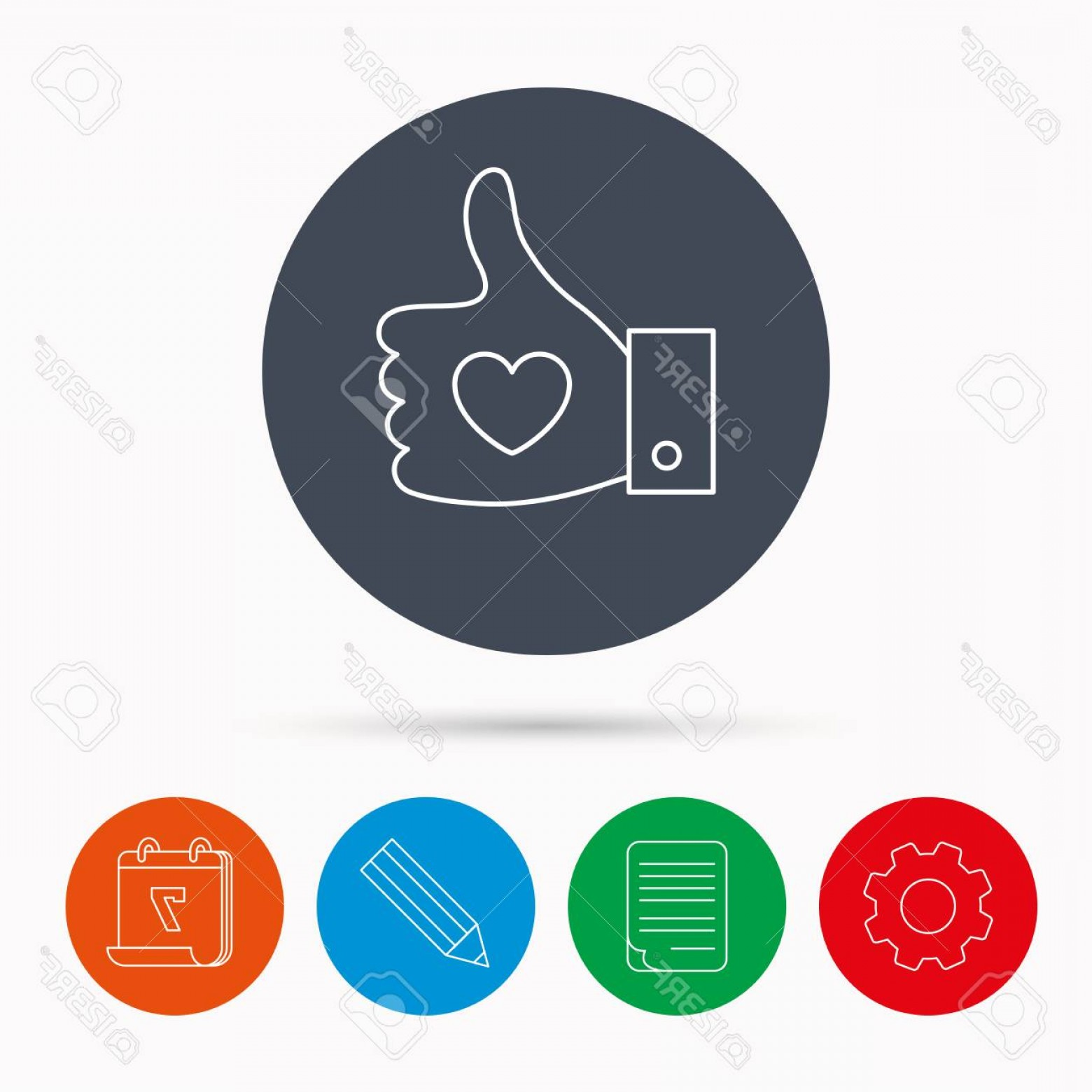Pencil Icon Vectors Social Media: Photostock Vector Thumb Up Like Icon Super Cool Vote Sign Social Media Symbol Calendar Cogwheel Document File And Penc