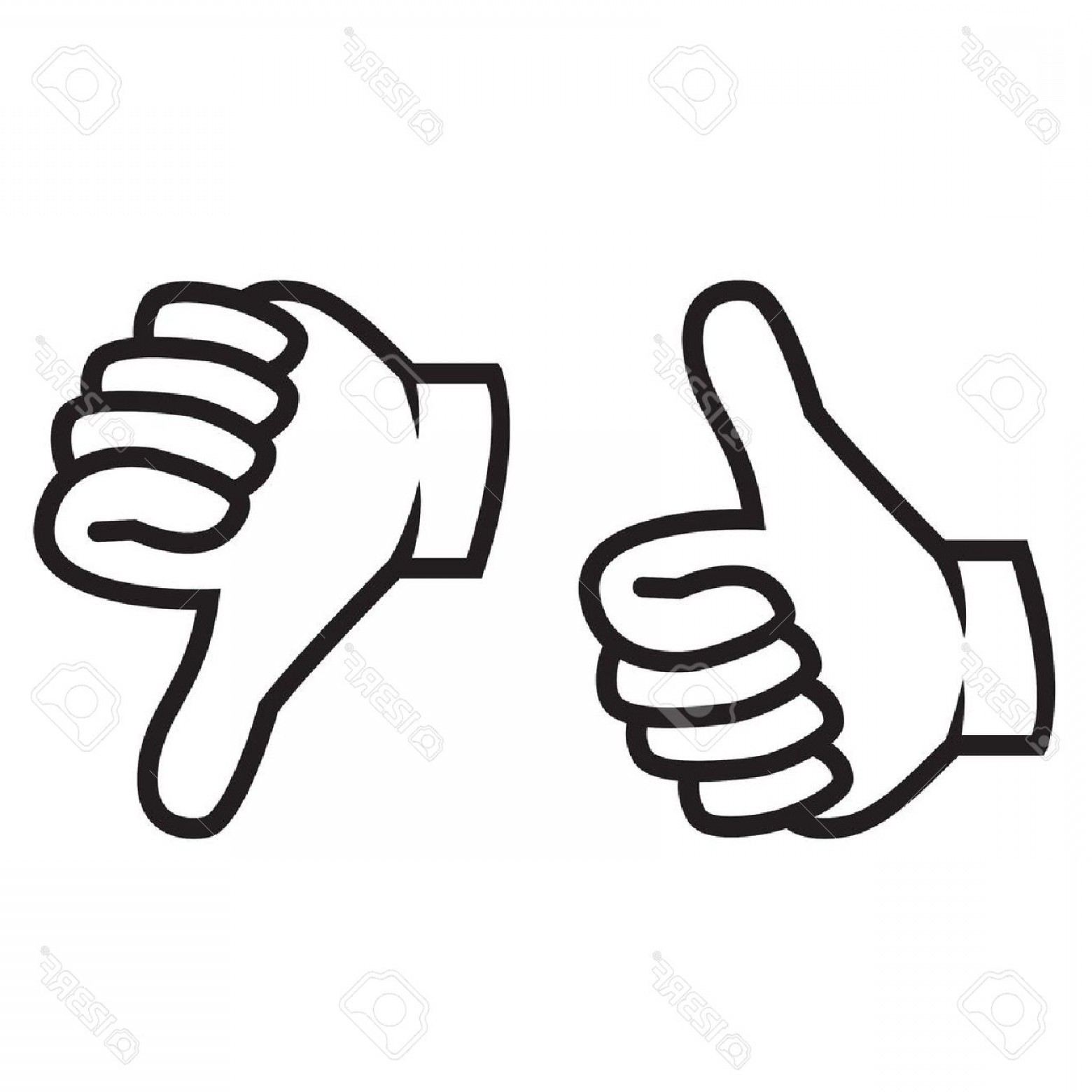 Vector Thumbs Up Down: Photostock Vector Thumbs Up And Down Gesture