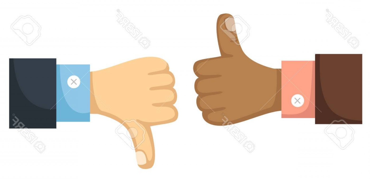 Vector Thumbs Up Down: Photostock Vector Thumbs Up And Down Vector