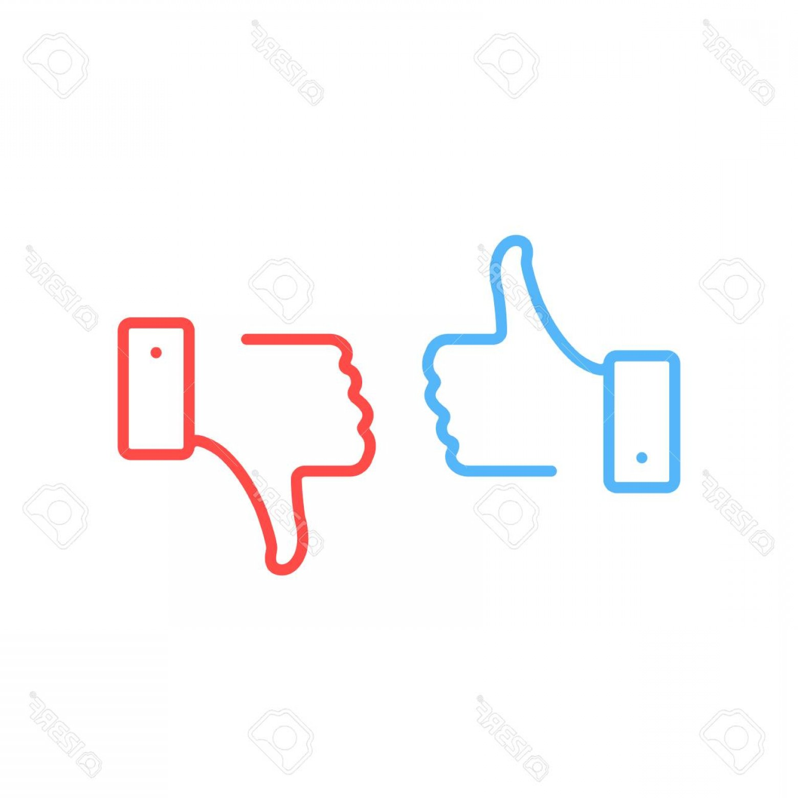 Vector Thumbs Up Down: Photostock Vector Thumbs Up And Thumbs Down Icons