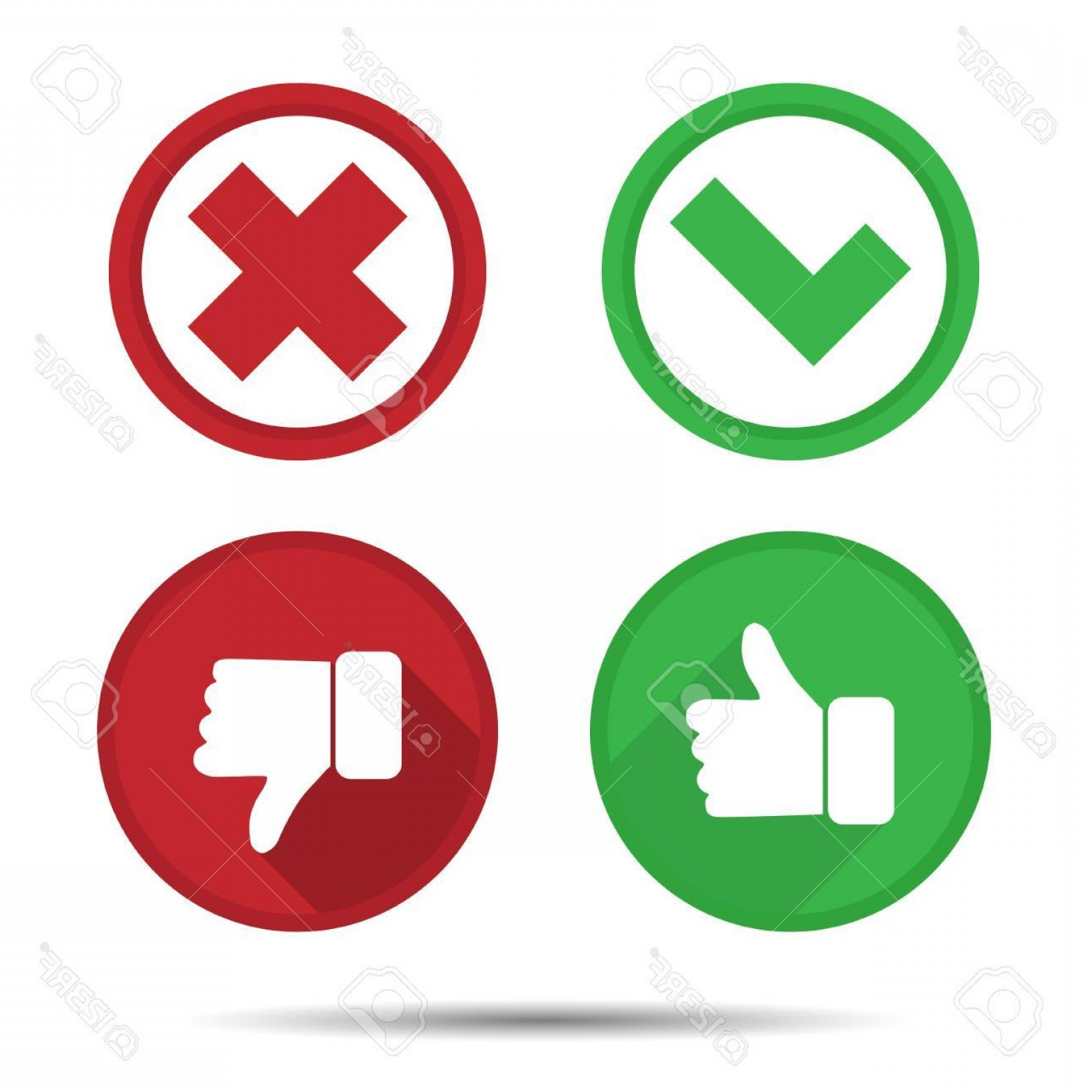 Vector Thumbs Up Down: Photostock Vector Thumbs Up And Thumbs Down Yes No Icons