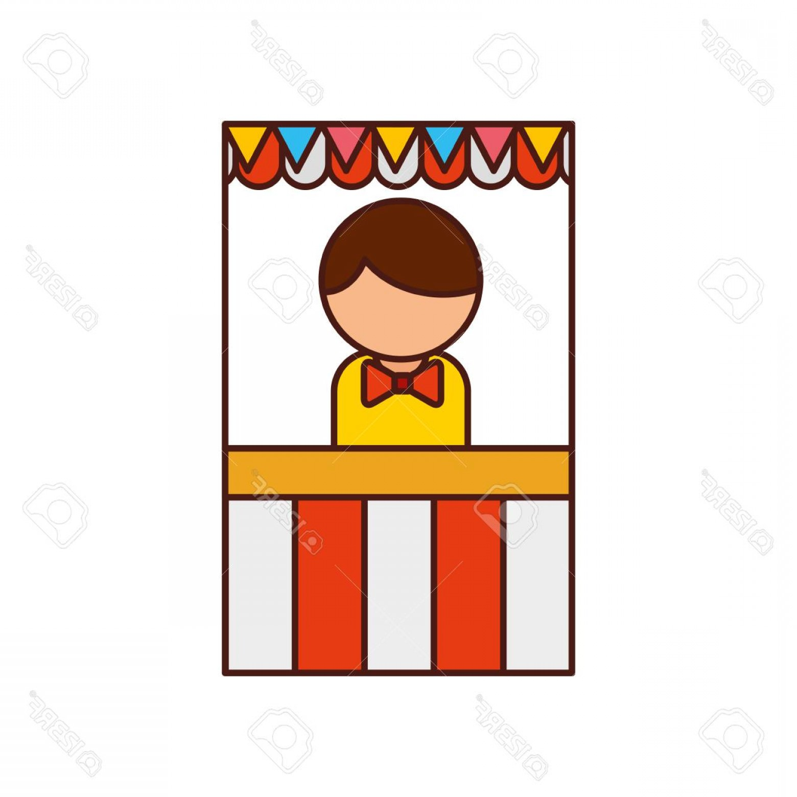 Salesman Vector: Photostock Vector Ticket Shop Carnival With Salesman Vector Illustration Design