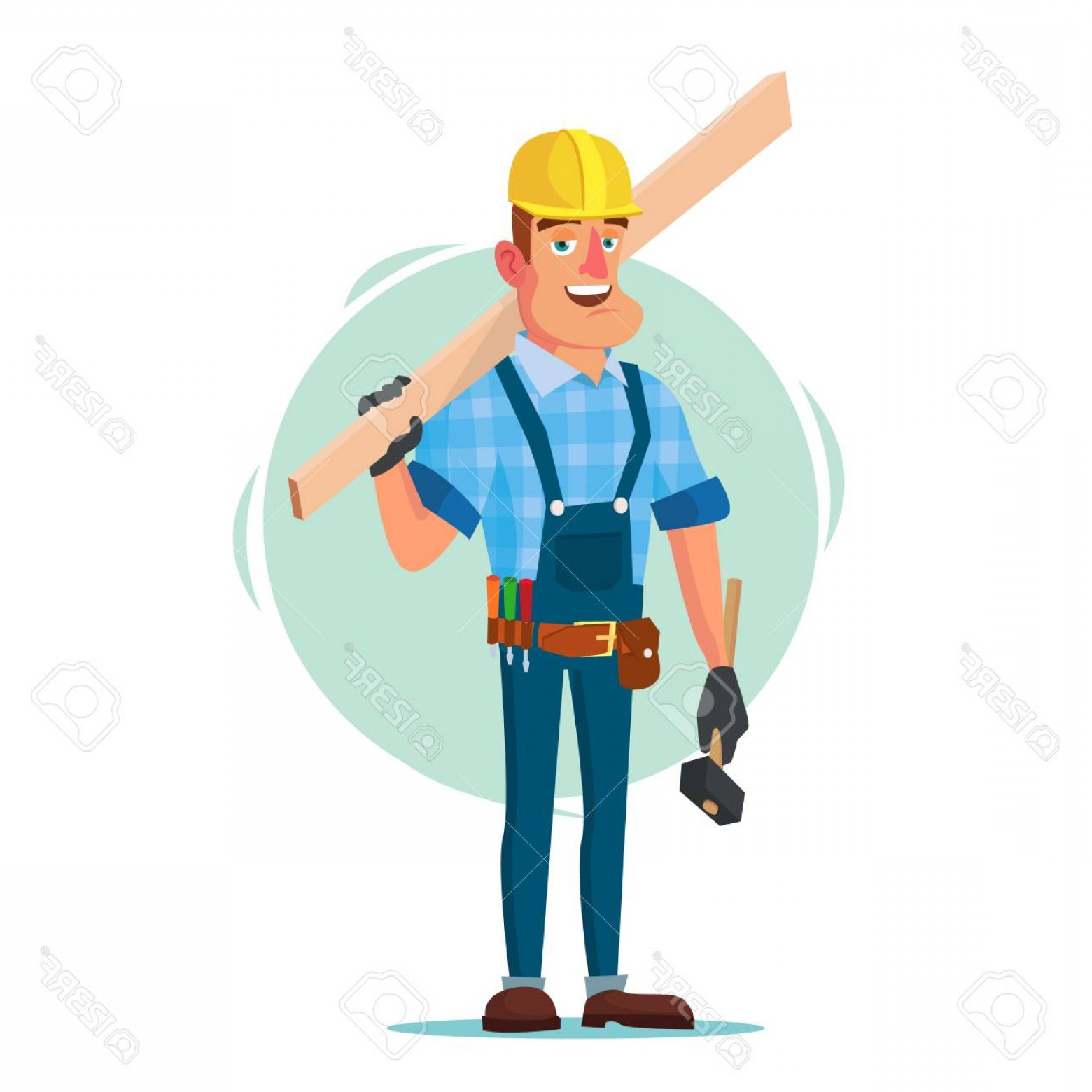 Worker Vector: Photostock Vector Timber Frame House Construction Worker Vector Construction Worker On Framing A Building Isolated Fla