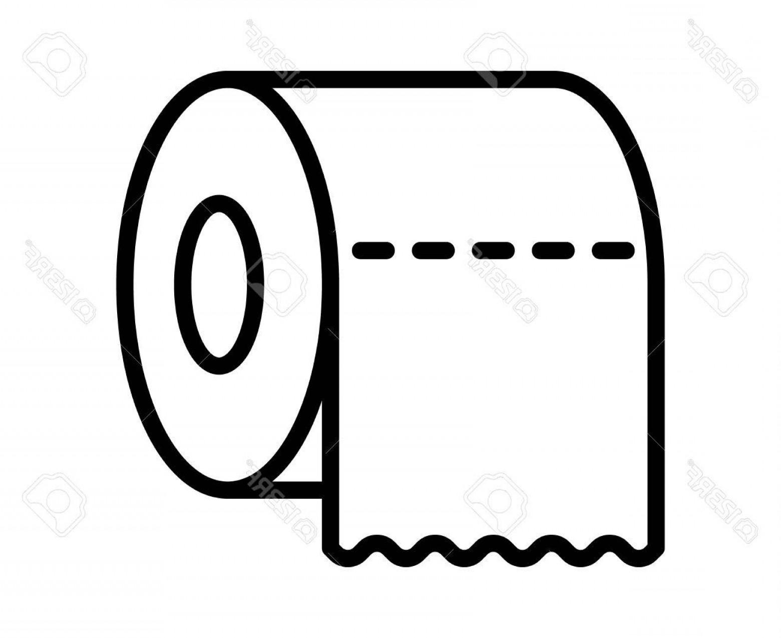 Toilet Paper Vector: Photostock Vector Toilet Tissue Paper Roll With Ridges Line Art Icon For Apps And Websites