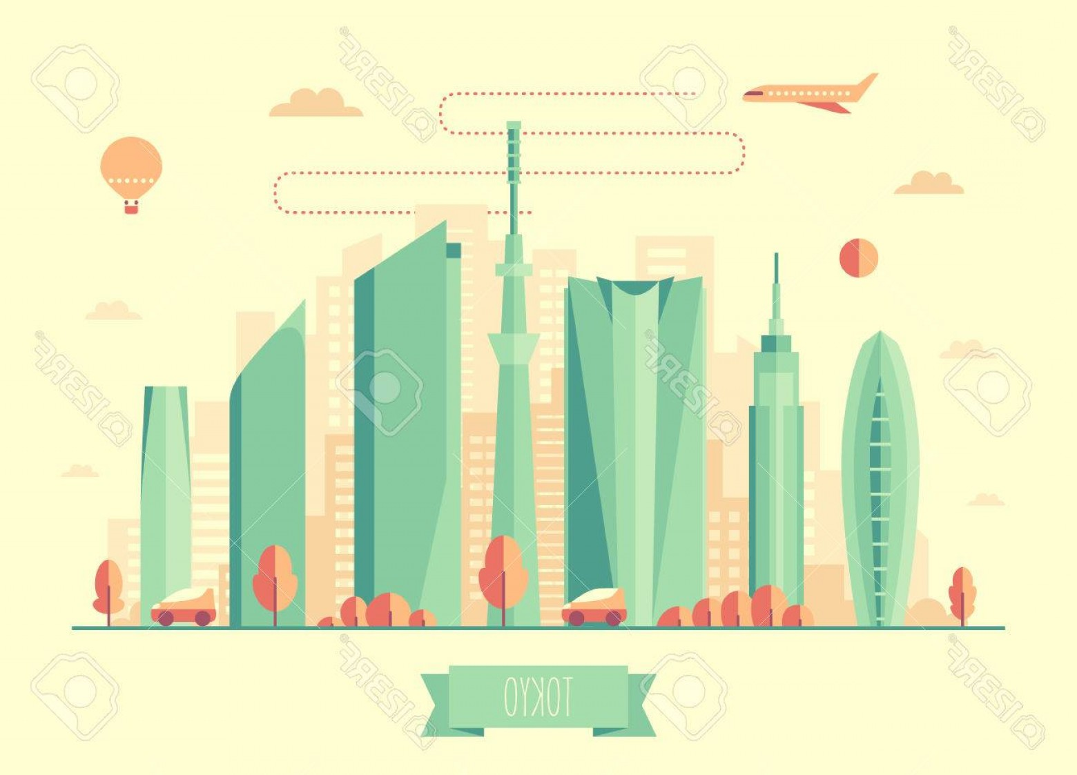 Cars Skyline Vector: Photostock Vector Tokyo Skyline Architecture Vector Illustration With Plane Cars And Air Balloon Flat Design