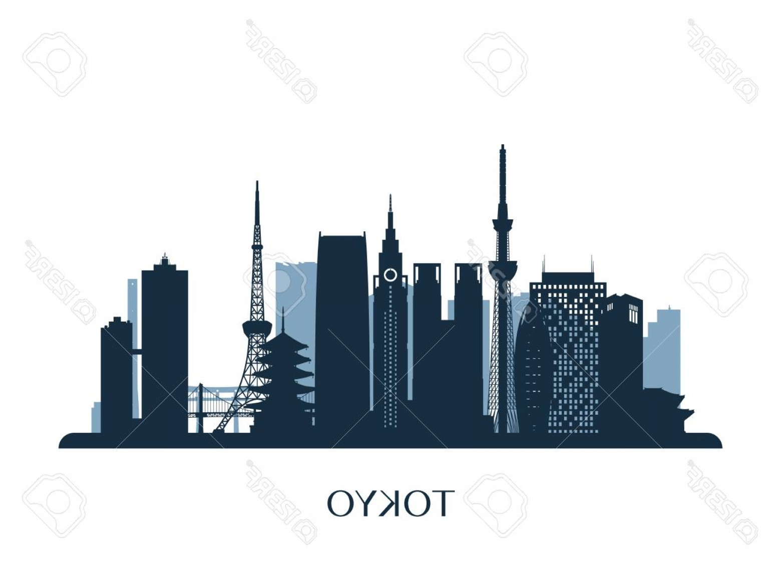 Wicked Boston Skyline Silhouette Vector: Photostock Vector Tokyo Skyline Monochrome Silhouette Vector Illustration