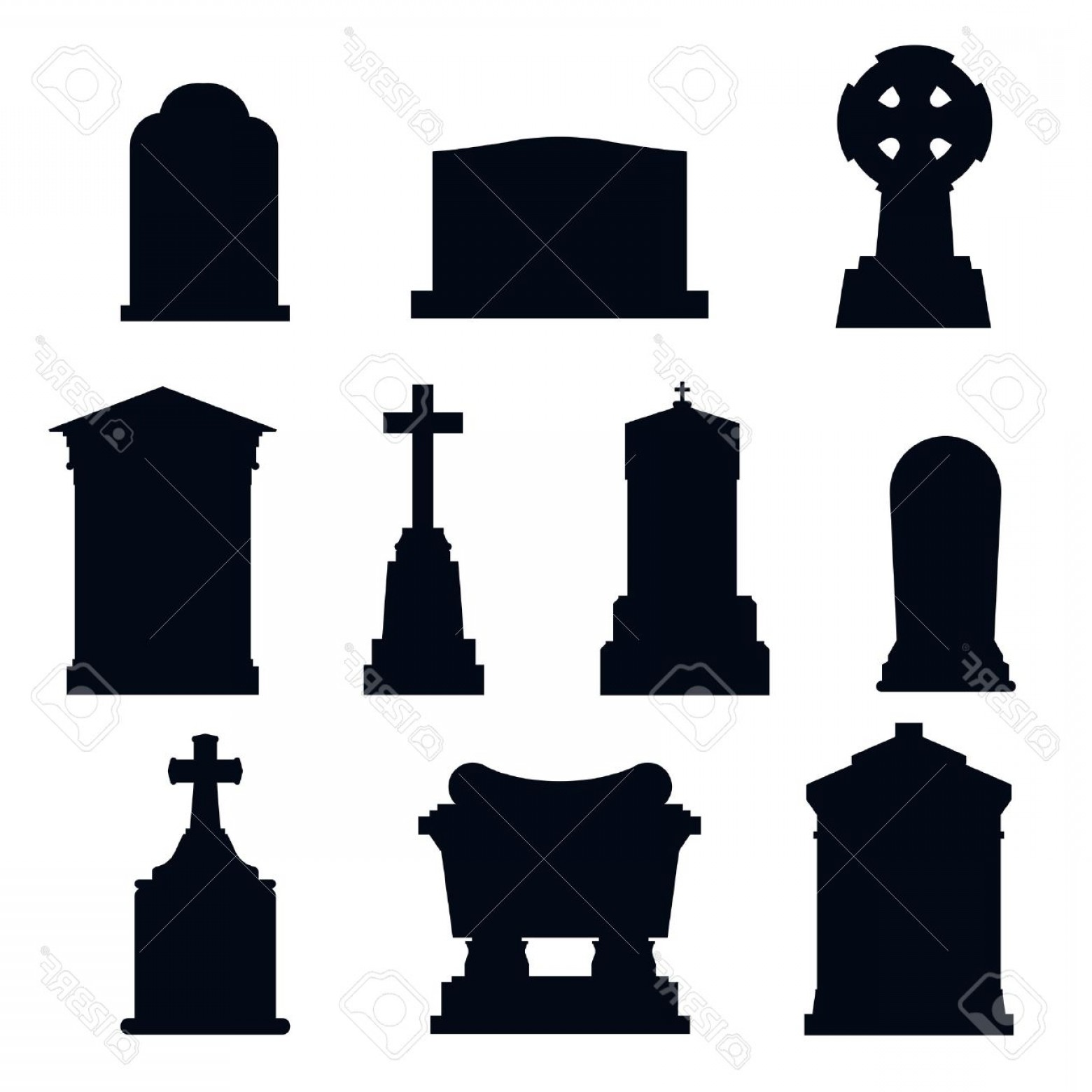 Gravestone Black And Whit Vector JPEG: Photostock Vector Tombs Stone Grave Vector Construction Black And White Icons Vector Tombs Icons Isolated Tombs Stone
