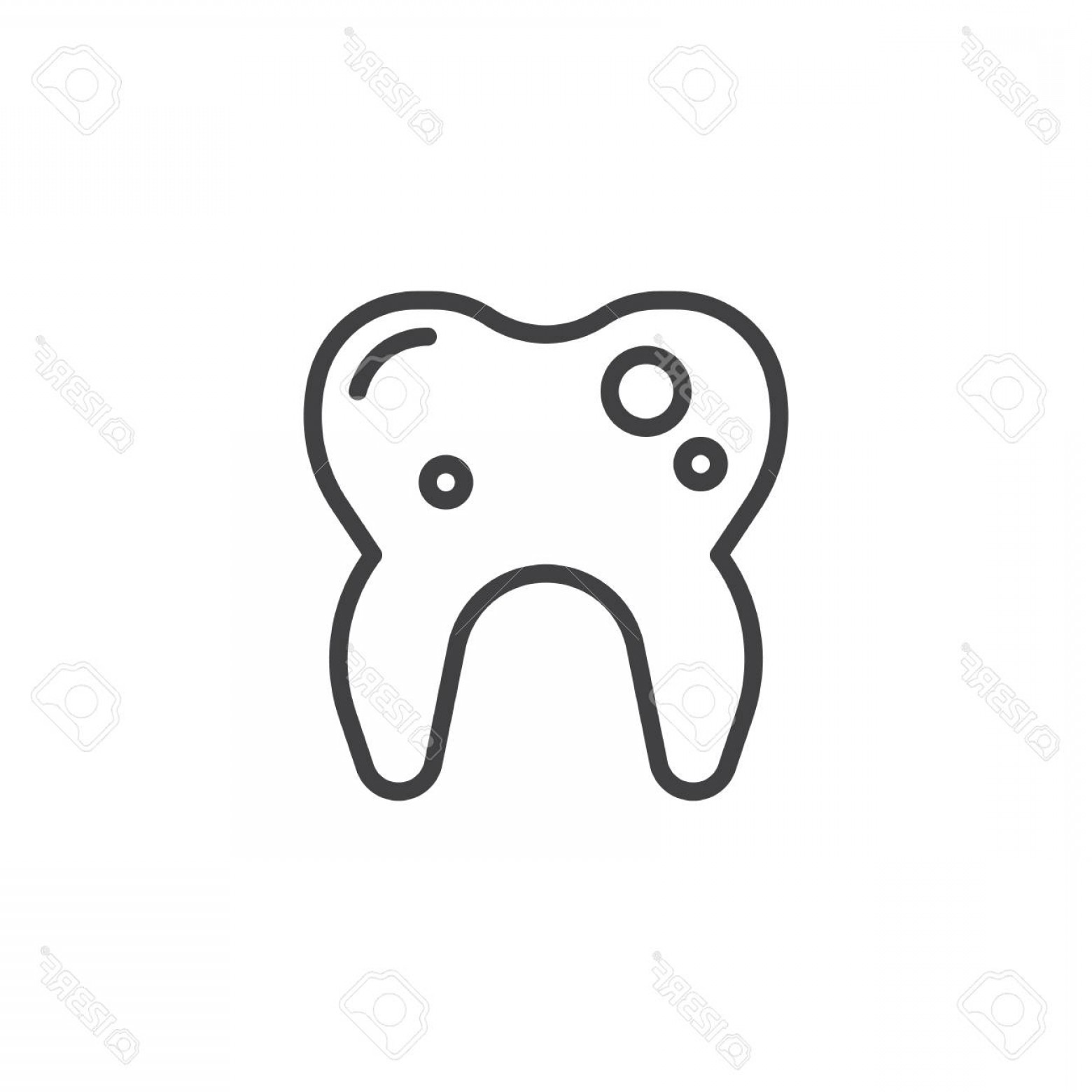 Tooth Outline Vector: Photostock Vector Tooth With Caries Line Icon Outline Vector Sign Linear Style Pictogram Isolated On White Damage Toot