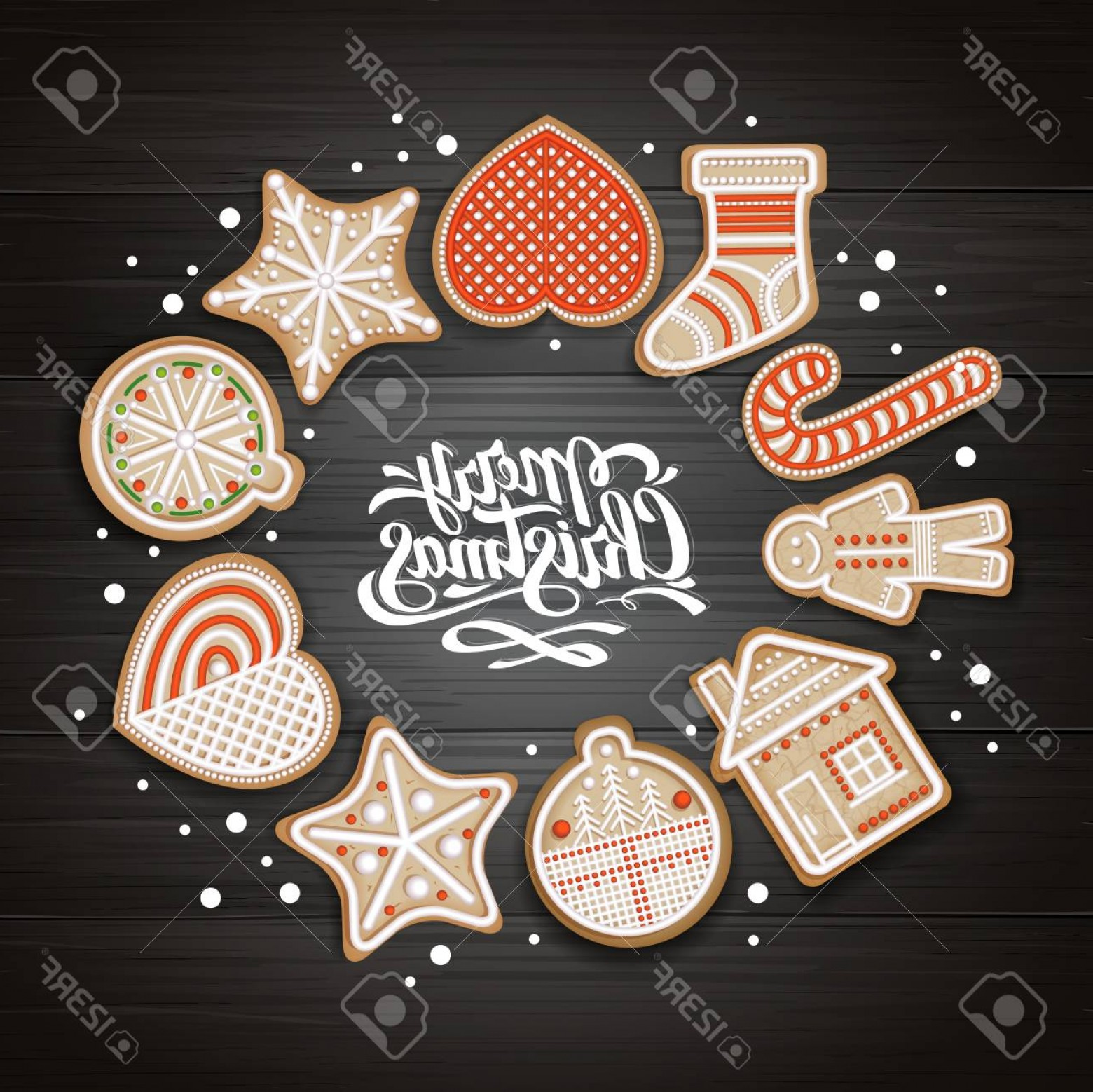 Vectors Holiday Baking: Photostock Vector Top View Of Merry Christmas Concept Design Holiday Cookies On Wooden Background Christmas Food