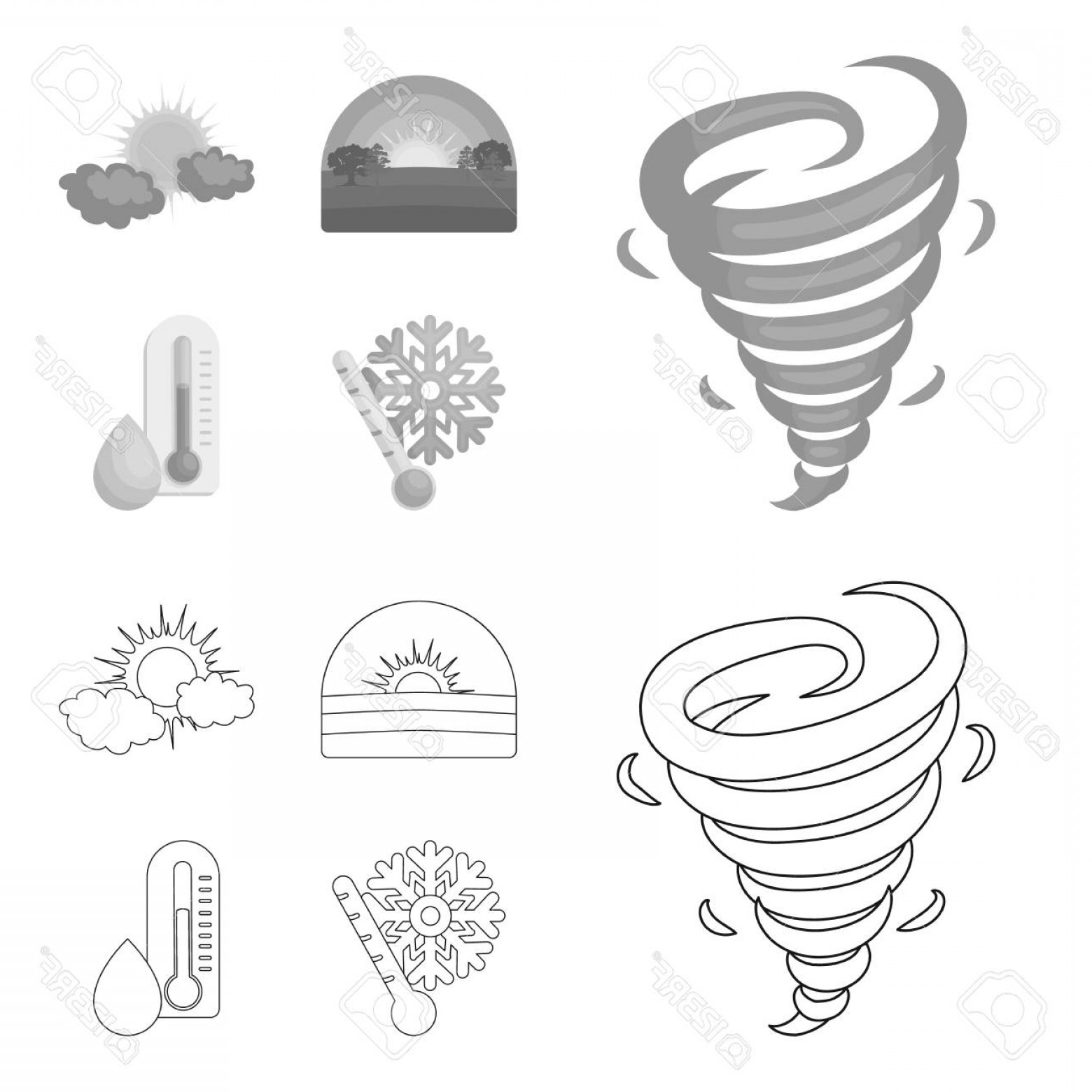 Snow Cone Outline Vector: Photostock Vector Tornado Sunrise Cloudiness Snow And Frost The Weather Set Collection Icons In Outline Monochrome Sty