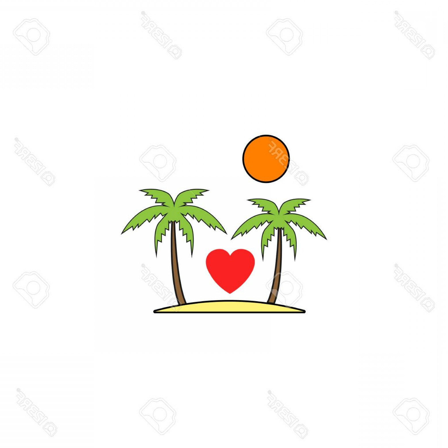 Solid Heart Vector Drawing: Photostock Vector Tour In Valentine S Day Solid Icon Travel And Island With Heart Love Concept Vector Graphics A Color