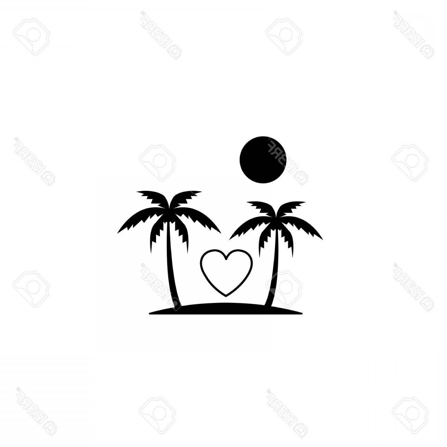 Solid Heart Vector Drawing: Photostock Vector Tour In Valentine S Day Solid Icon Travel And Island With Heart Love Concept Vector Graphics A Fille