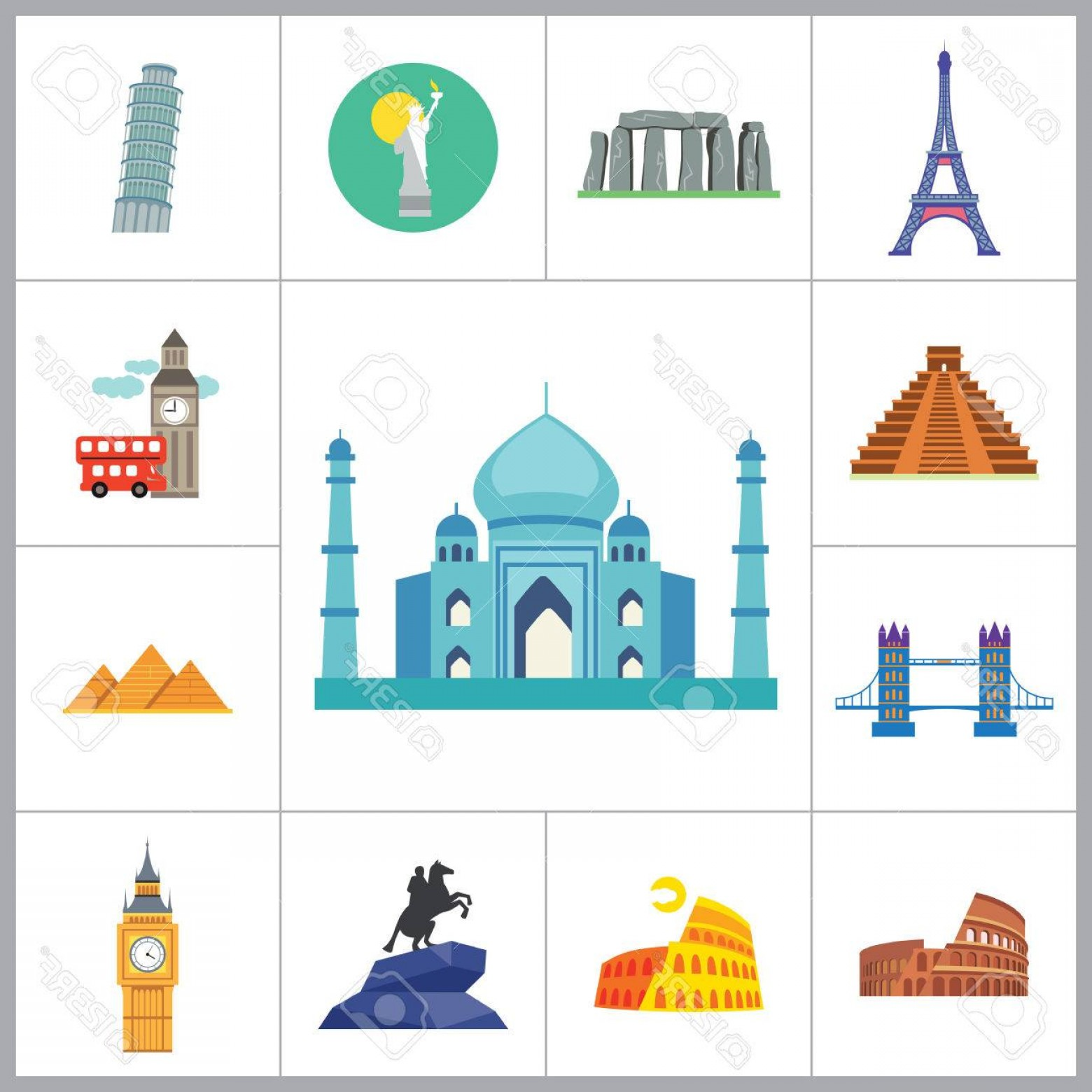 Attraction Icon Vector: Photostock Vector Tourist Attraction Icons Set Thirteen Vector Icons Of Eiffel Tower Big Ben Pyramids And Other Touris