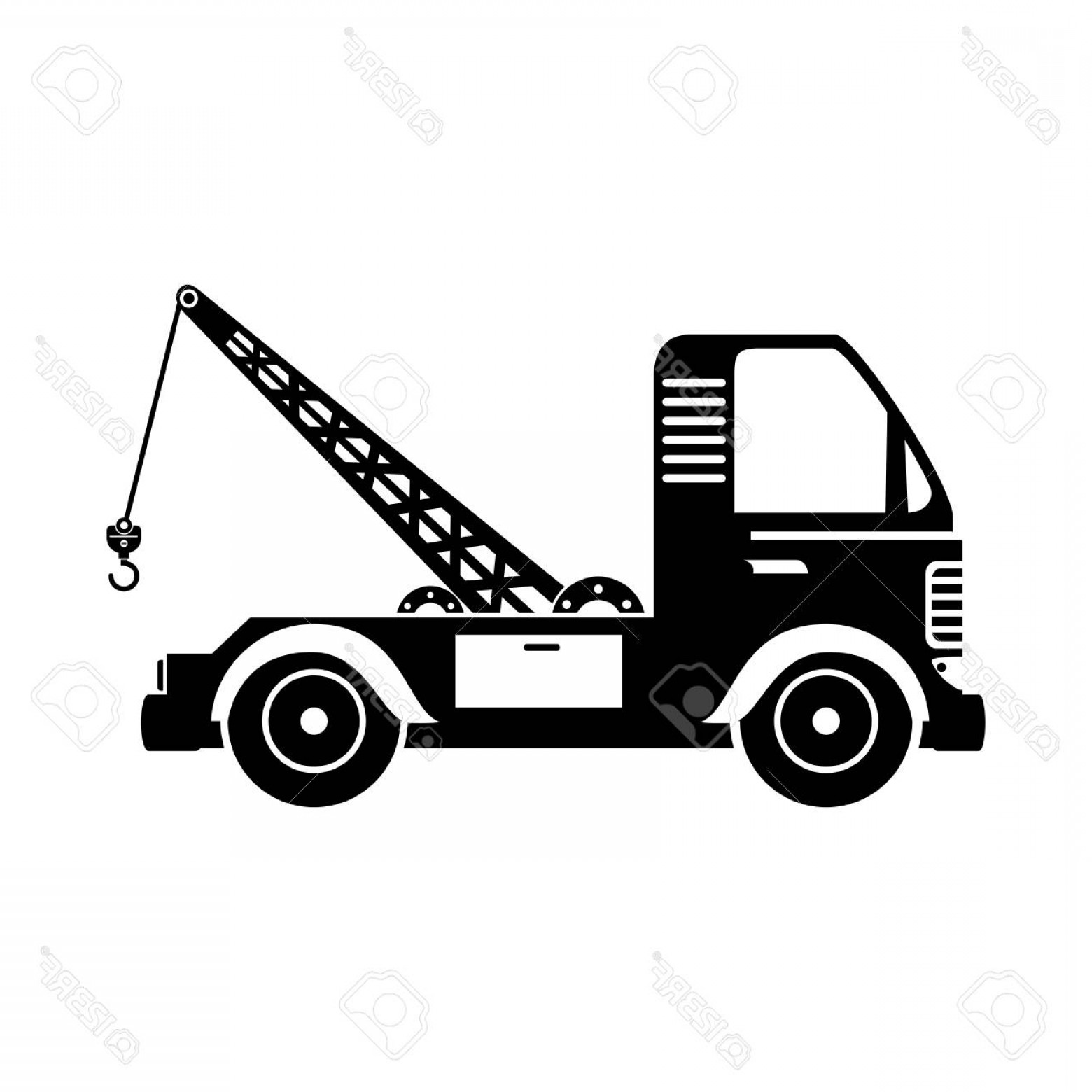 Tow Hook Vector Art: Photostock Vector Tow Crane Truck Vehicle Cargo Moving Hook Mechanical Vector Isolated Illustration