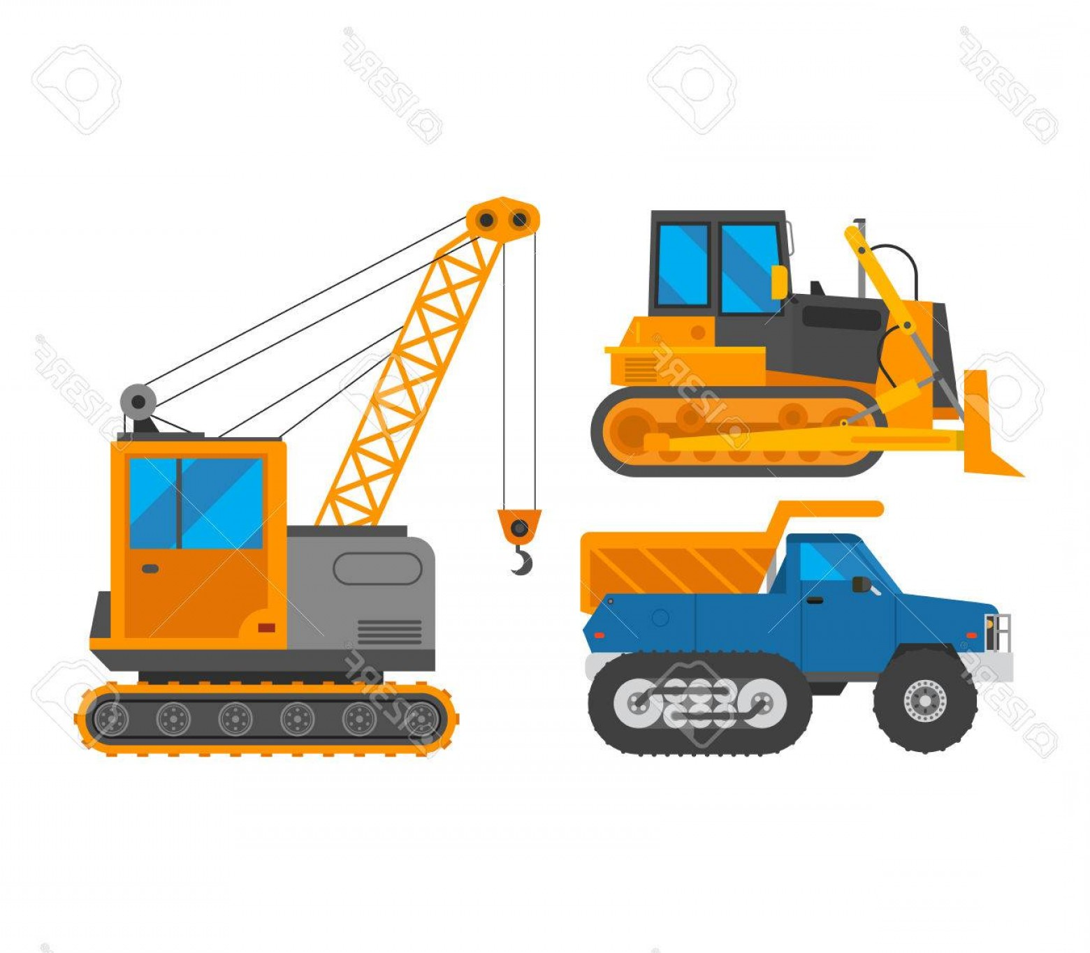 Caterpillar Trackhoe Bulldozer Vector: Photostock Vector Tracked Excavator Vector Illustration Isolated On White Background Construction Industry Machinery C