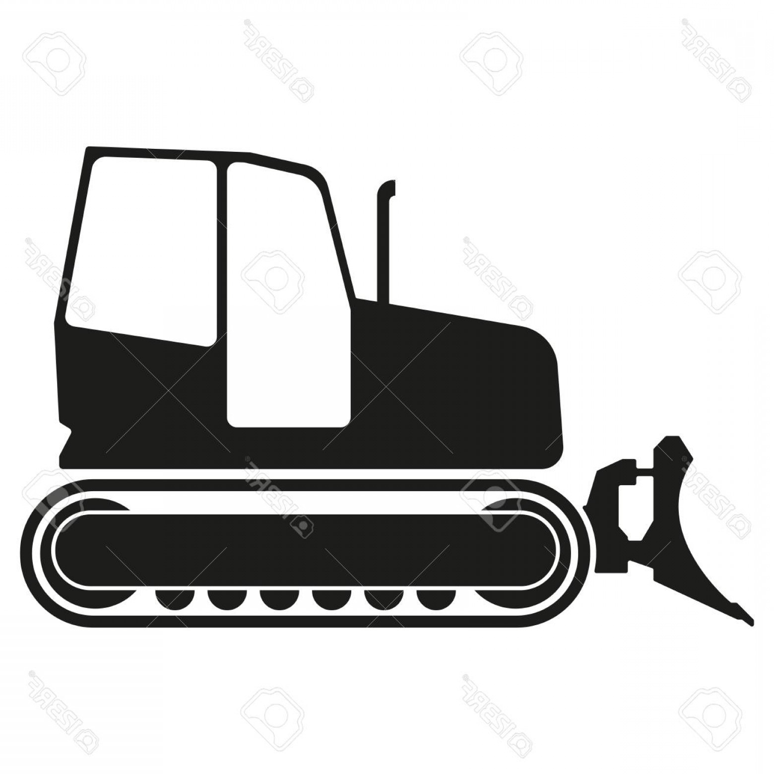 Tractor Silhouette Vector Art: Photostock Vector Tractor Or Bulldozer Icon Isolated On White Background Tractor Grader Silhouette Vector Illustration