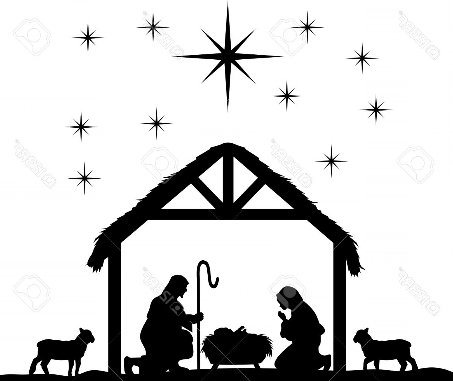 Black Horse Vector Scene: Photostock Vector Traditional Christian Christmas Nativity Scene Of Baby Jesus In The Manger With Mary And Joseph