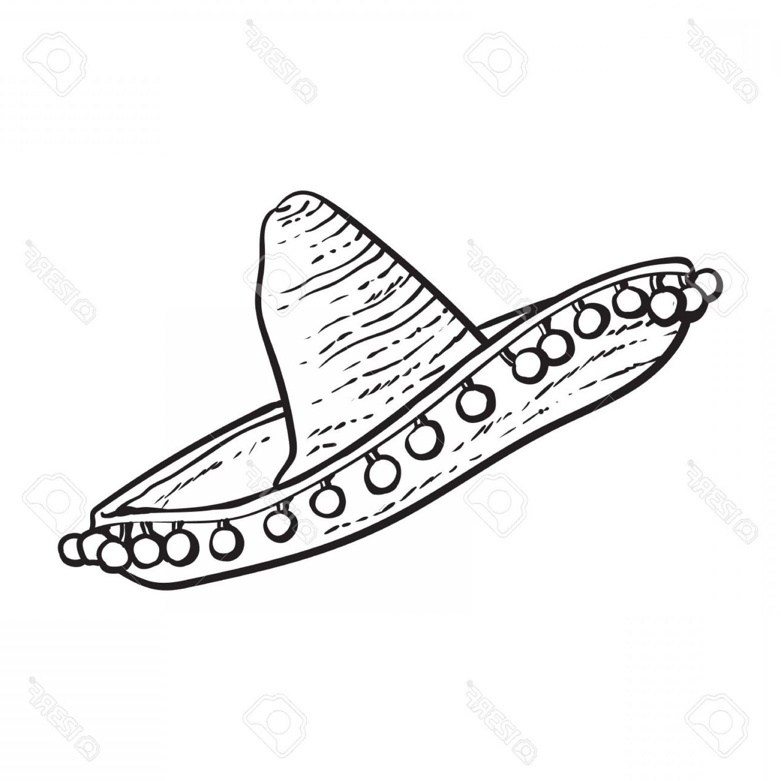 Sombrero Vector Outline: Photostock Vector Traditional Mexican Wide Brimmed Sombrero Hat Black And White Sketch Style Vector Illustration Isola
