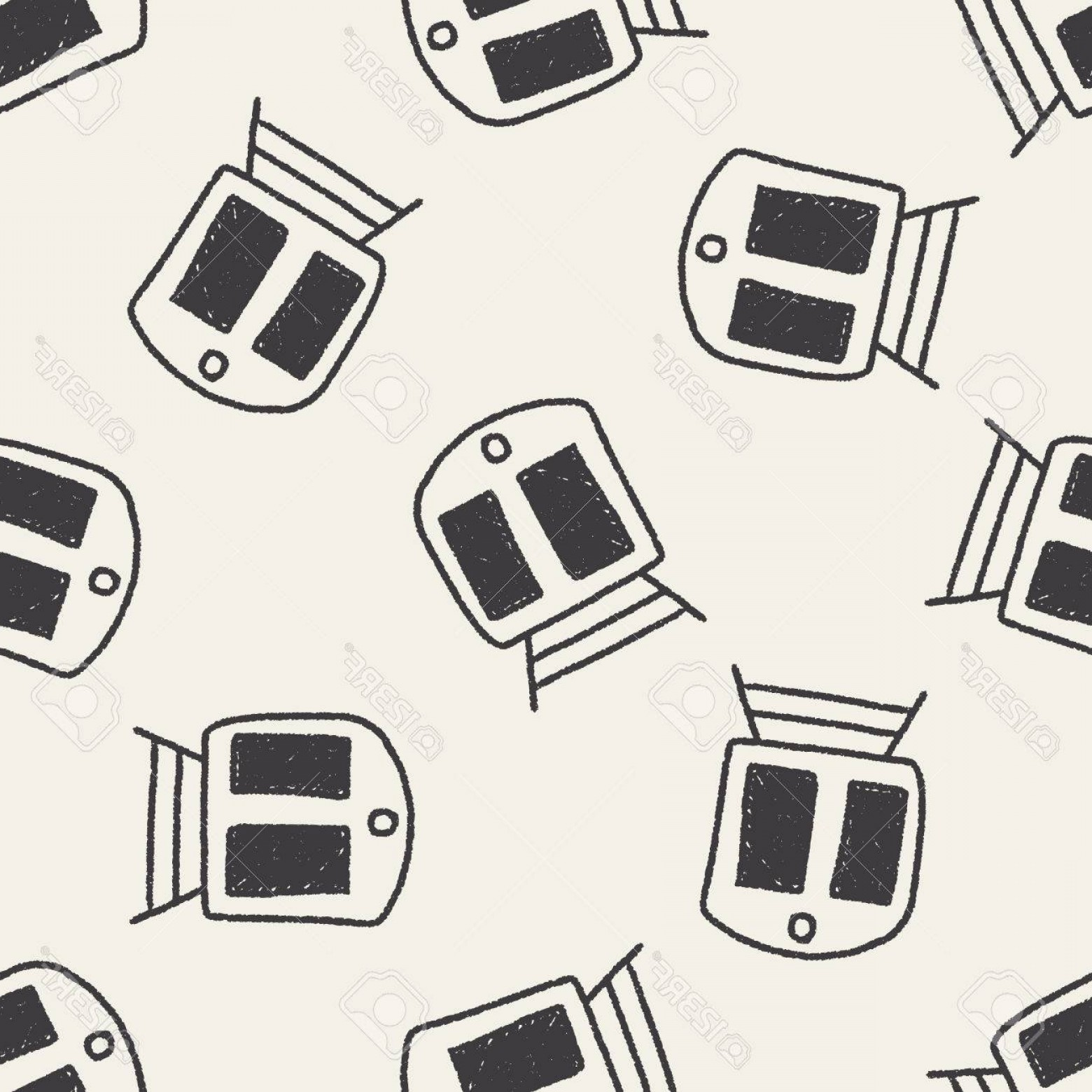 Vector Train Pattern: Photostock Vector Train Doodle Drawing Seamless Pattern Background