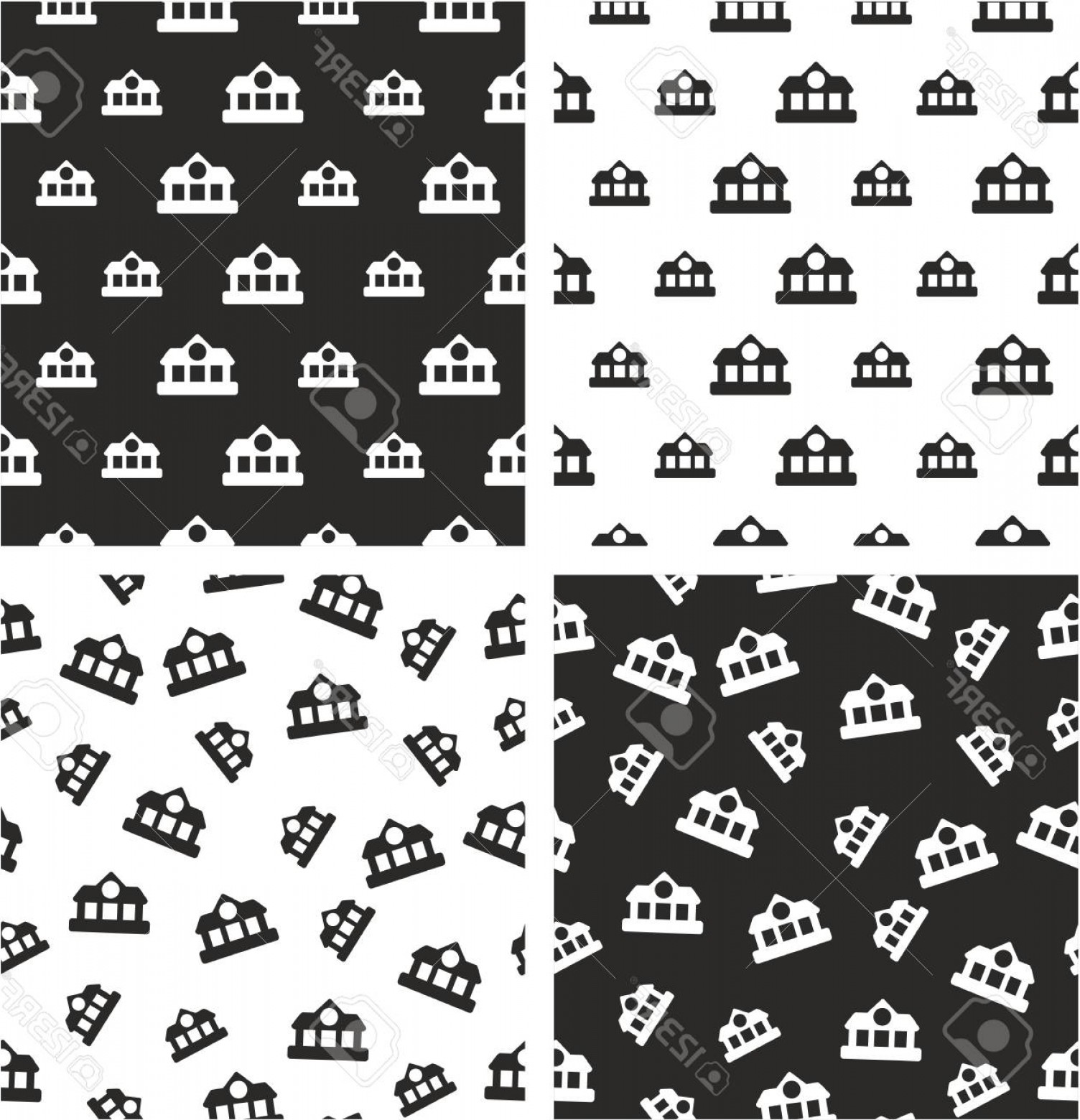 Vector Train Pattern: Photostock Vector Train Or Subway Station Big Small Aligned Random Seamless Pattern Set