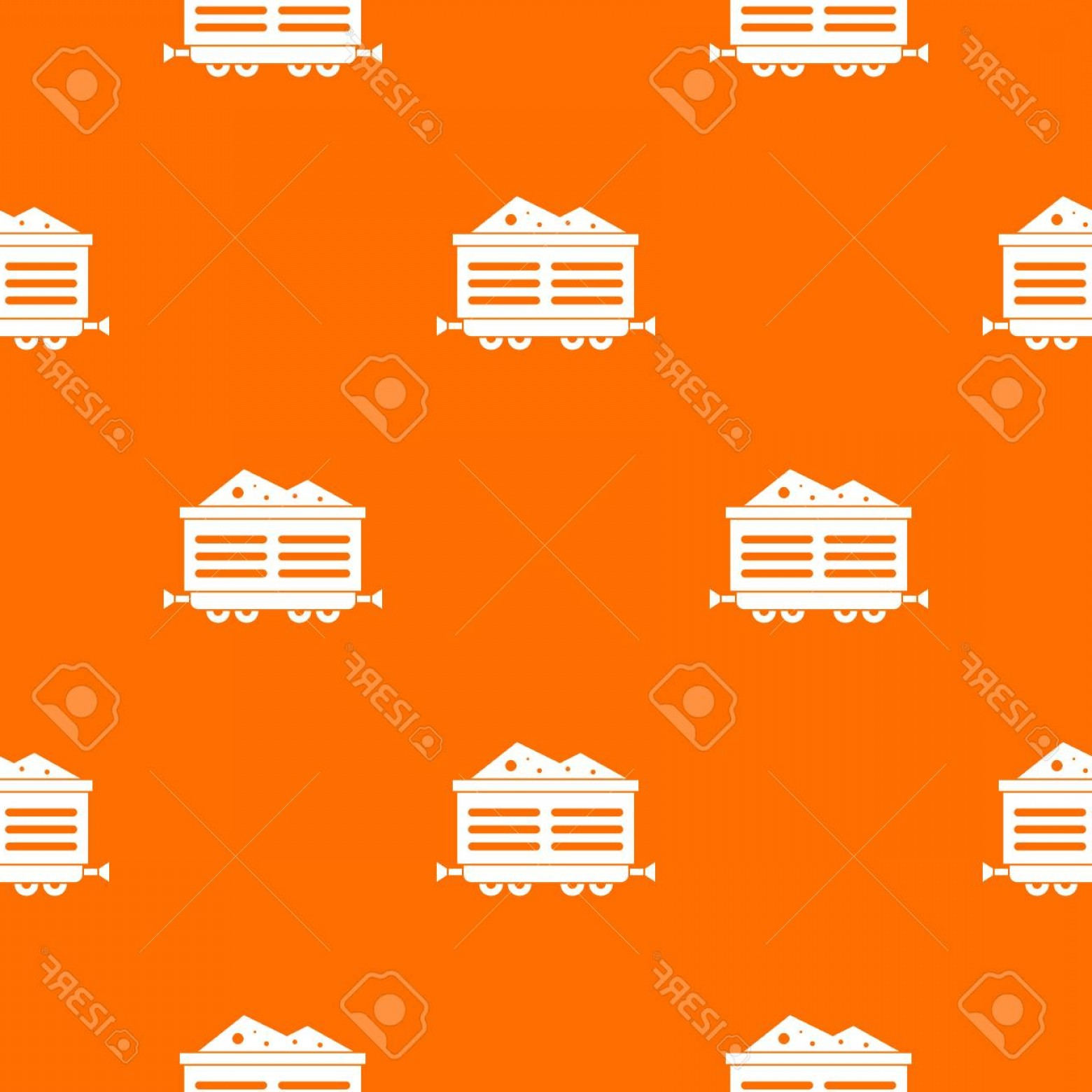Vector Train Pattern: Photostock Vector Train Wagon With Coal Seamless Repeat Pattern In Orange Color For Any Design Vector Geometric Illust