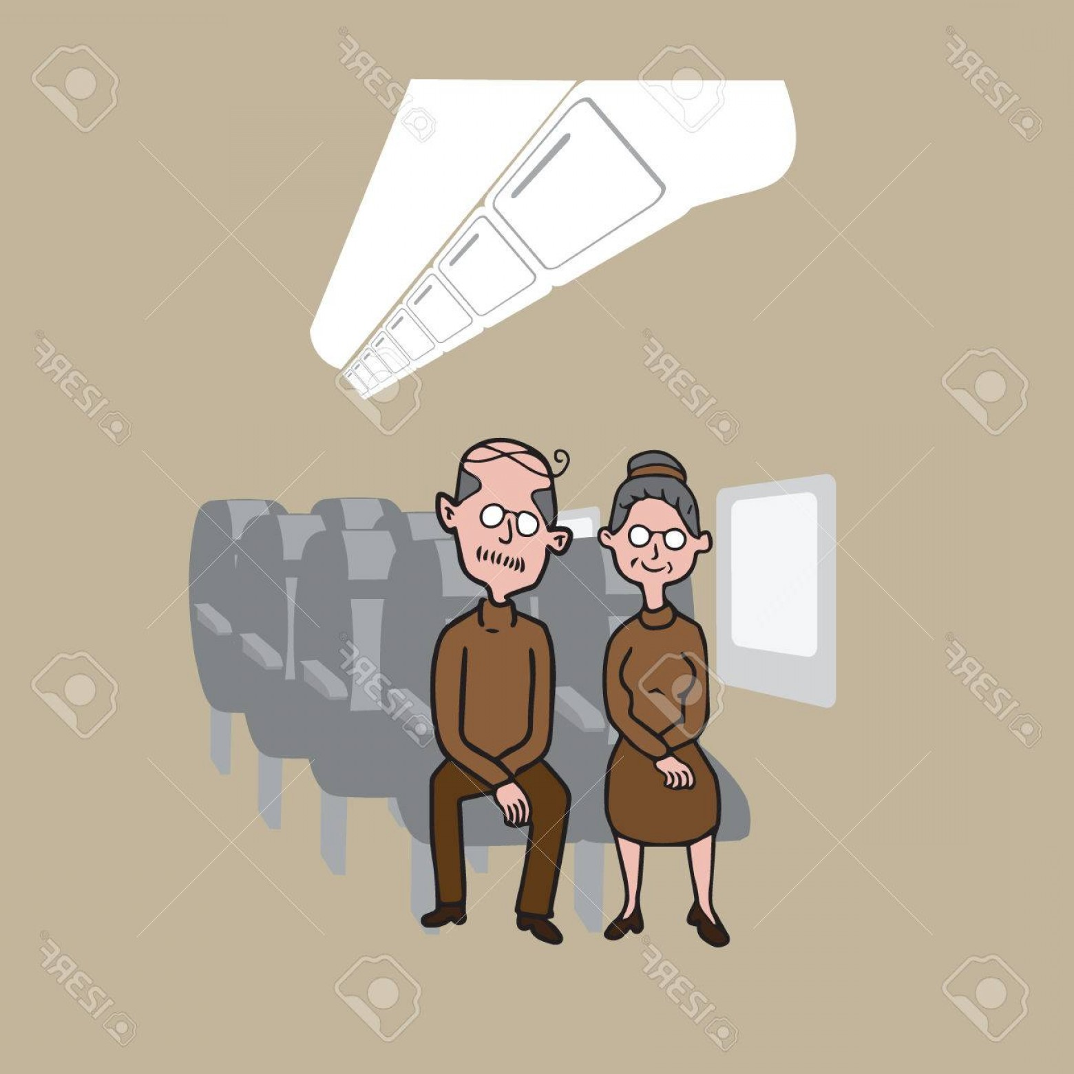Vector Man Working In Cabin: Photostock Vector Transportation Passengers In Airplane Cabin