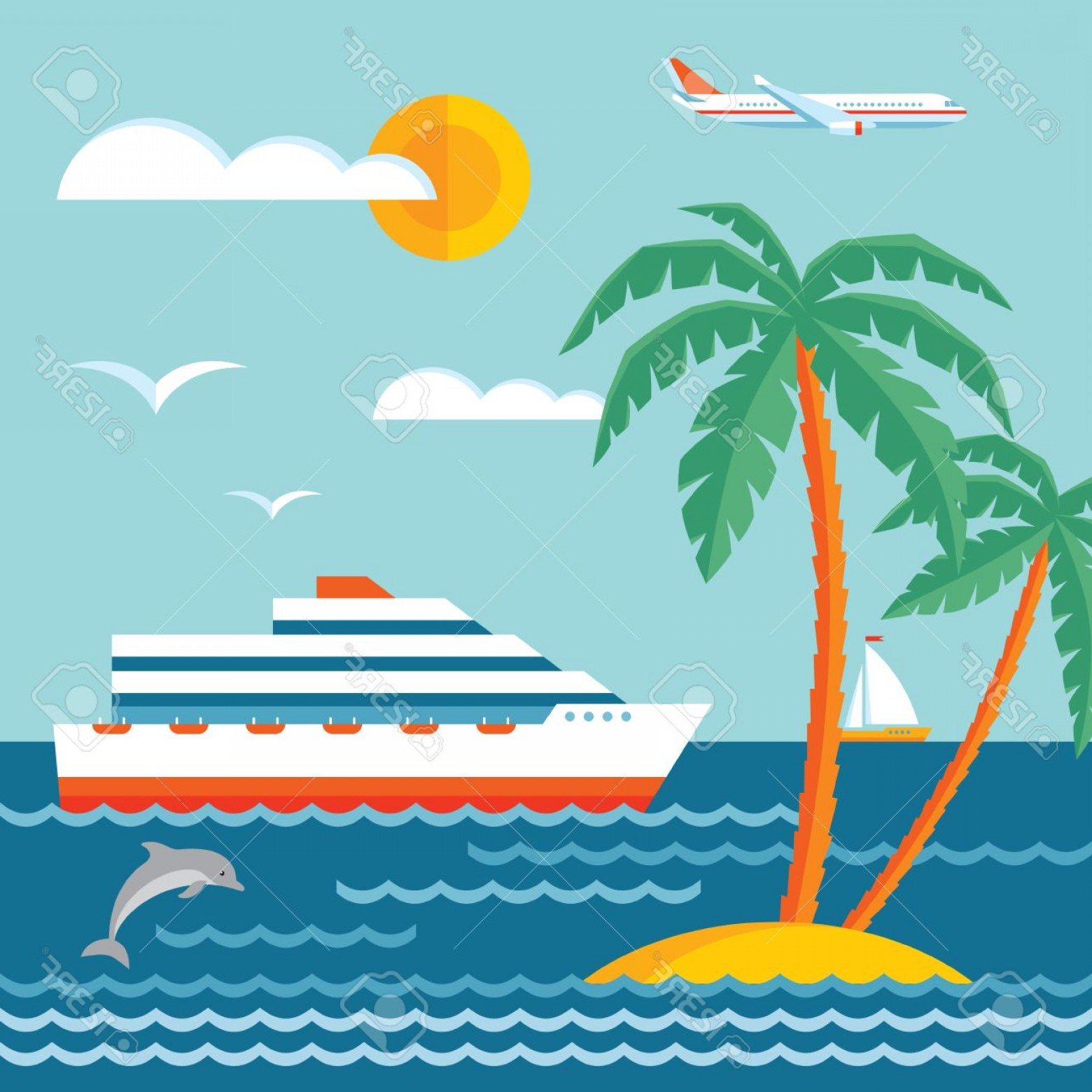 Waves With Cruise Ship Silhouette Vector: Photostock Vector Travel Cruise Vector Concept Illustration In Flat Style Design Cruise Liner Sailboat Sea Waves Palms