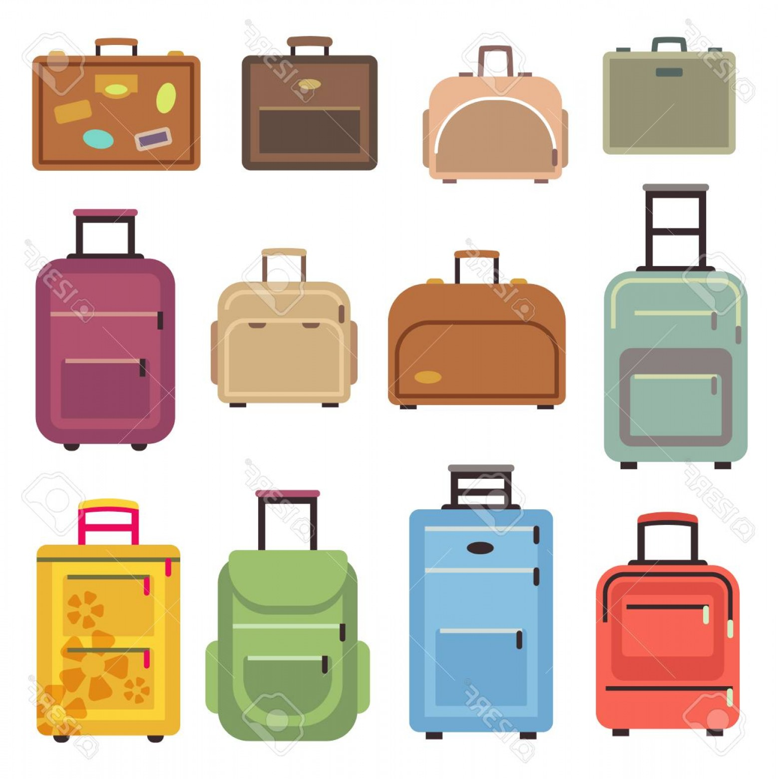 Vintage Luggage Vector: Photostock Vector Travel Luggage And Set Of Travel Bag Suitcase Vector Flat Icons Illustration