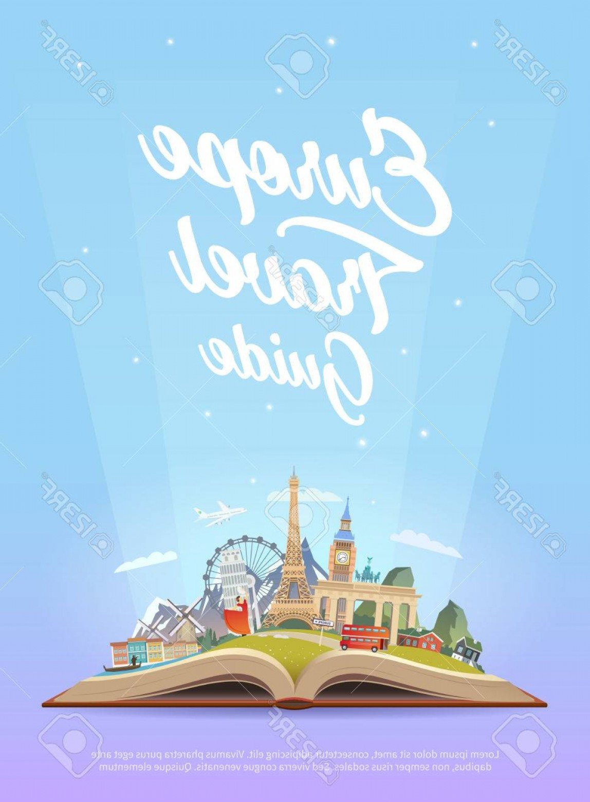 Open Book Vector Flat: Photostock Vector Travel To Europe Road Trip Tourism Open Book With Landmarks Europe Travel Guide Advertising Web Illu