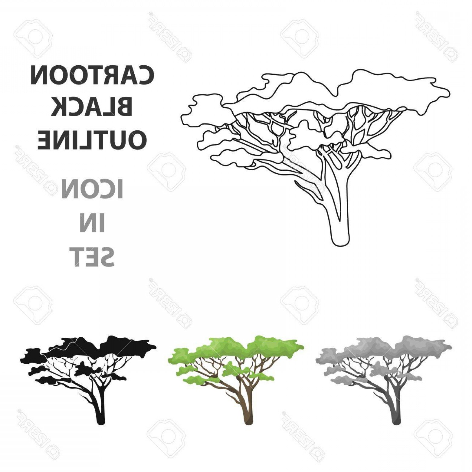 Contoon Free Black Vector Tree: Photostock Vector Tree In The Savannah African Single Icon In Cartoon Style Vector Symbol Stock Illustration
