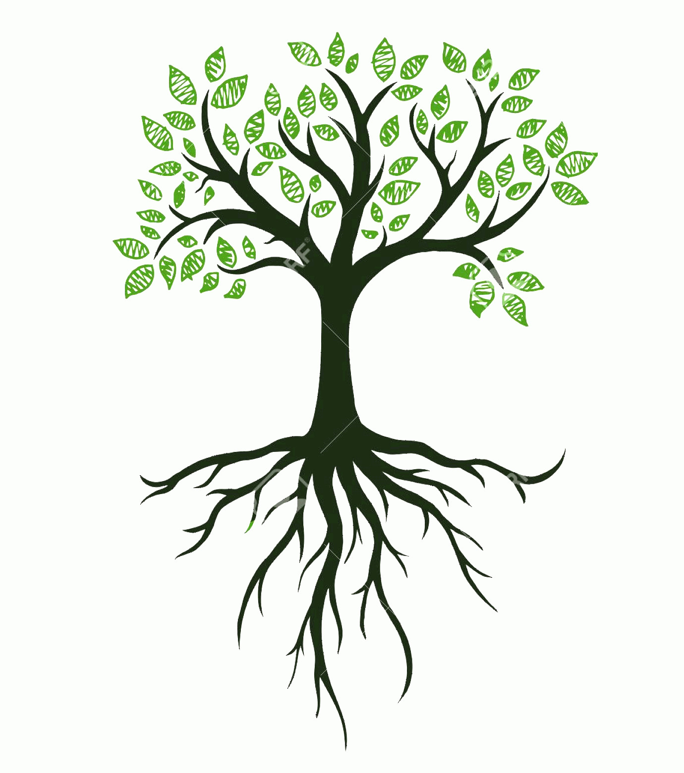 Vector Tree With Roots Drawing: Photostock Vector Tree Symbol With Roots Real Hand Drawing