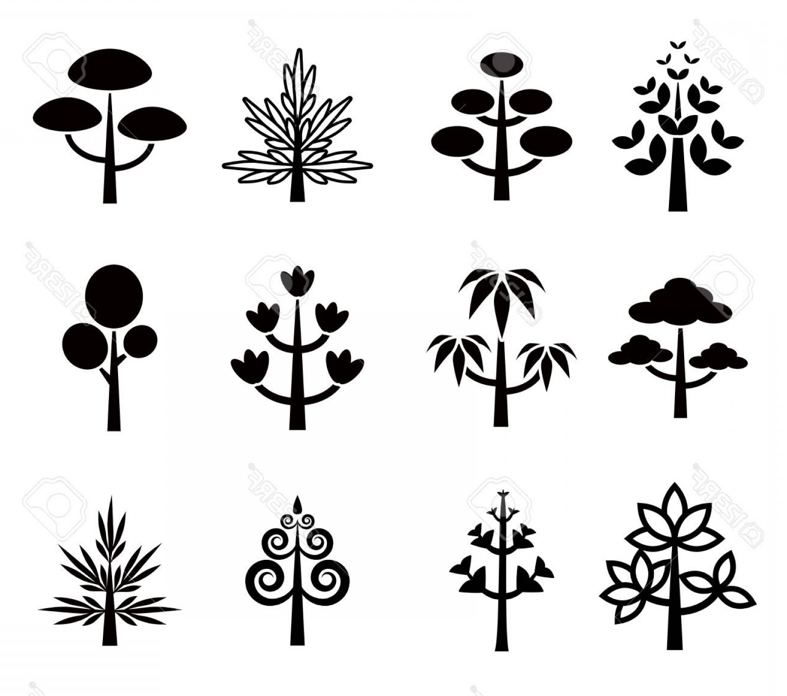 Contoon Free Black Vector Tree: Photostock Vector Tree Vector Icon Set Collection Black And White Cute Plant Cartoon