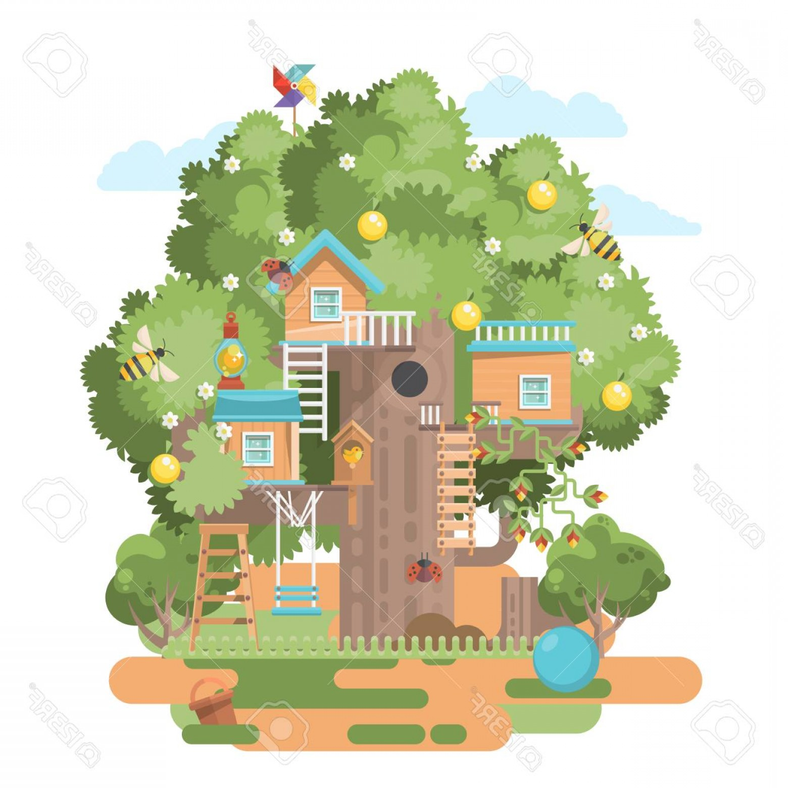 Vector Modern Tree House: Photostock Vector Treehouse In Colorful Flat Modern Style
