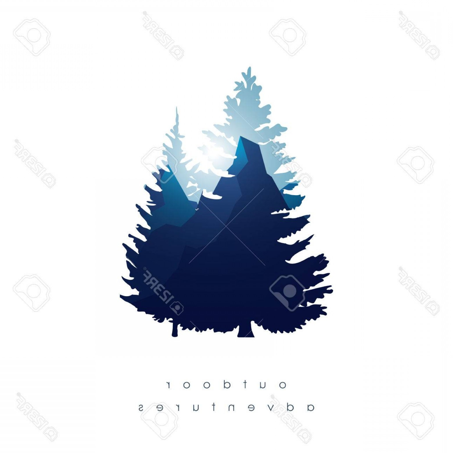 Vector Art Mountains Trees Colorado: Photostock Vector Trees Mountains In Double Exposure Style Vector Background Symbol Of Nature Landscape And Outdoor Ad