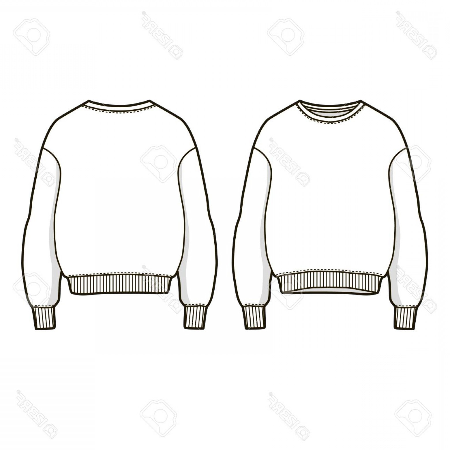 Sweatshirt Vector Template: Photostock Vector Trendy Women Sweatshirt Vector Sweatshirt Template Front And Back View