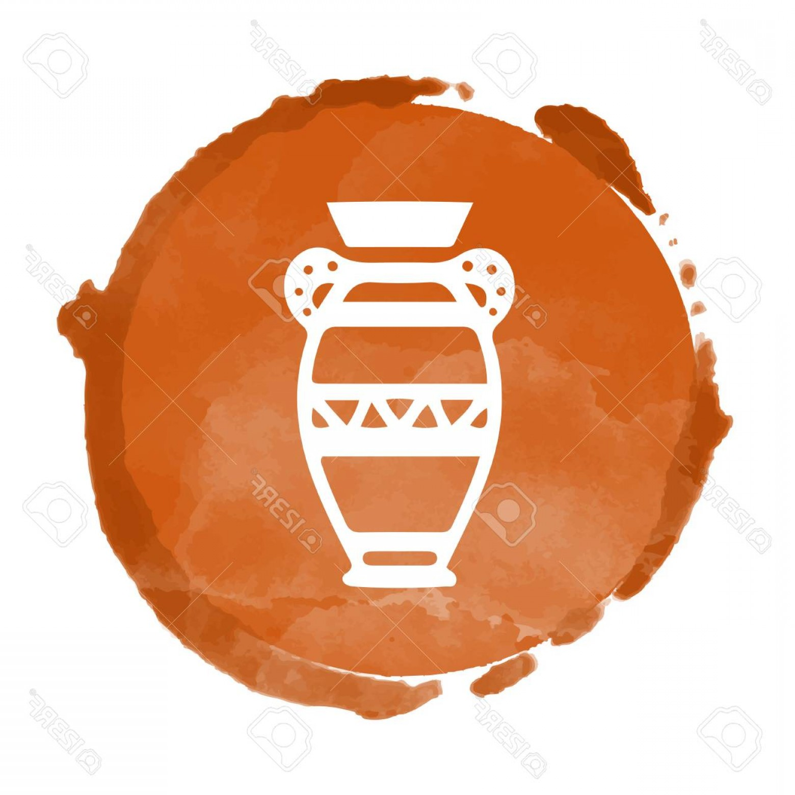 Tribal Football Vector Art: Photostock Vector Tribal Art Egyptian Stamp Ethnic Icon Egypt Vase Watercolor Coffee Circle Paint Stain Isolated On A