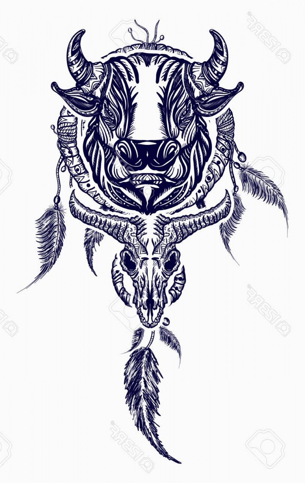 Dreamcatcher Tattoo Vector: Photostock Vector Tribal Bull And Dreamcatcher Tattoo Art Indian Dream Catcher With Ethnic Ornaments And Ethnic Bull H