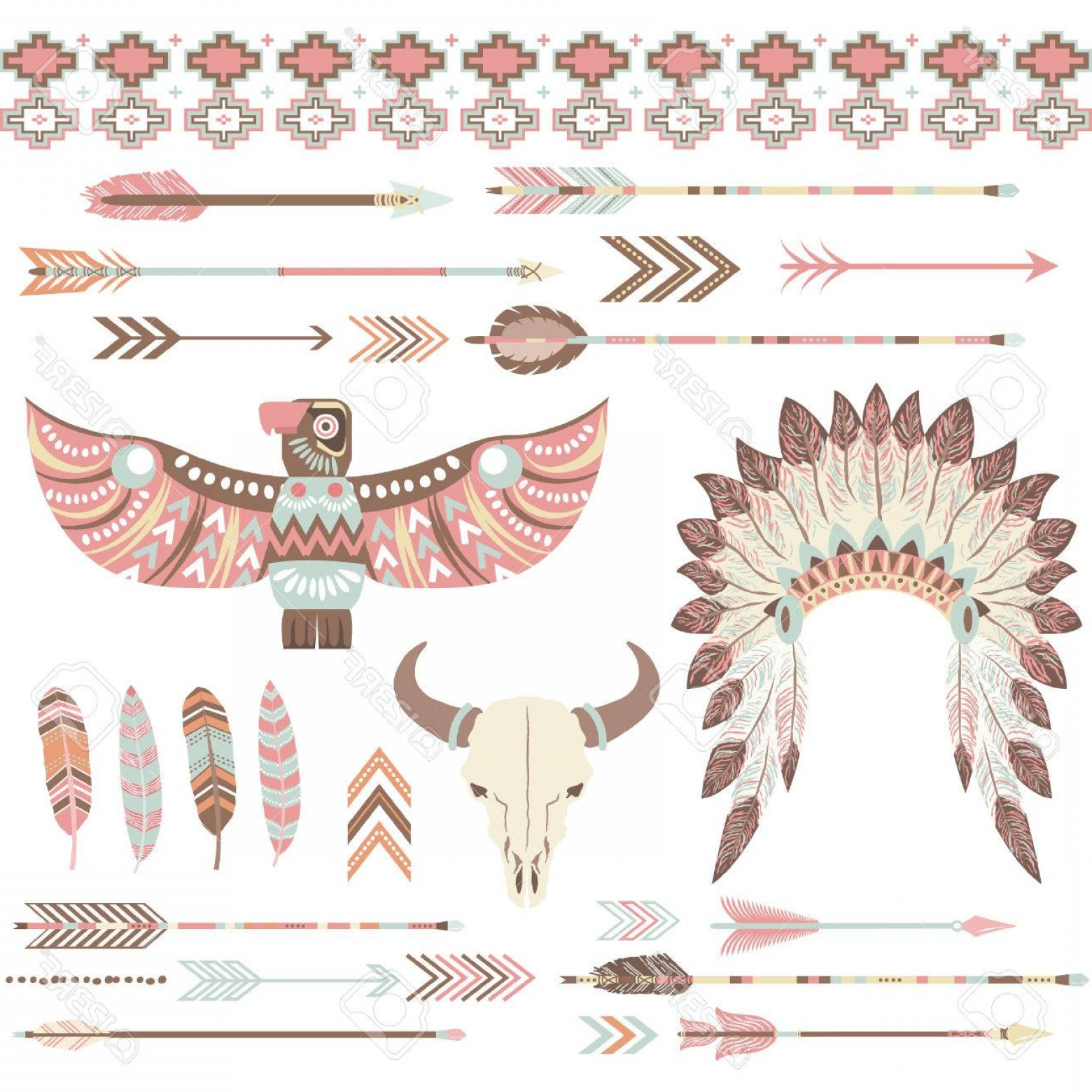 Vector Clip Art Collections: Photostock Vector Tribal Indian Clip Art Collections