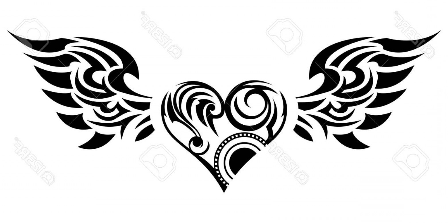 Angel Wings Tattoo Tribal Vector: Photostock Vector Tribal Tribal Sticker Heart And Wings Design Of Angel Wings And Hearts Tribal Design