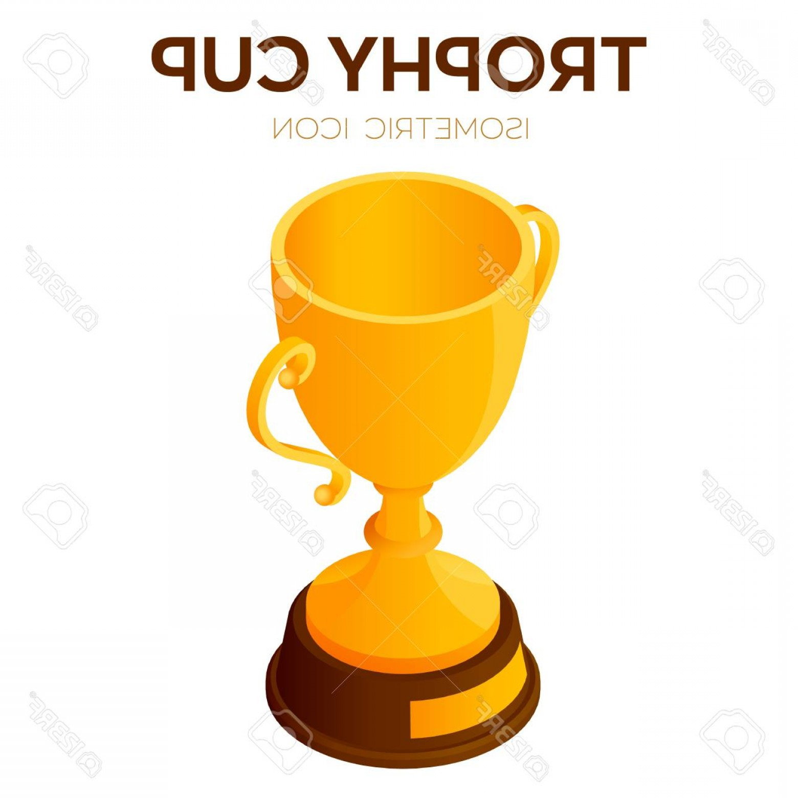 3D Vector Award Winner: Photostock Vector Trophy Cup Icon Award Winner Or Champion Cup D Isometric Icon Created For Mobile Web Decor Print Pr
