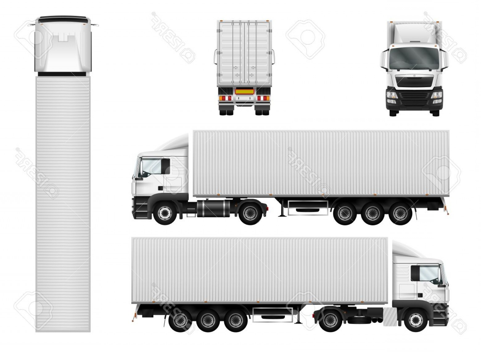 Vector Semi Tanker: Photostock Vector Truck Trailer With Container Vector Semi Truck Template On White Cargo Delivery Vehicle Separate Gro