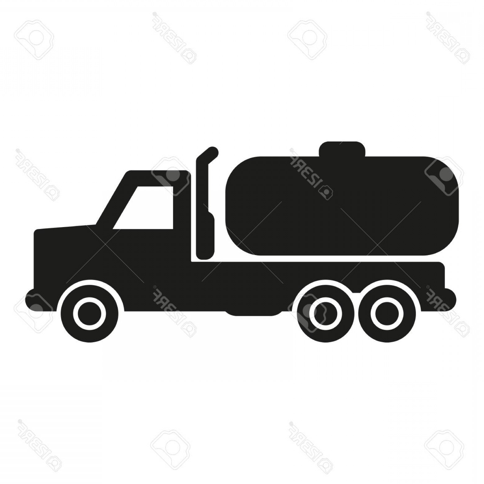Vector Truck And Trailer Hauling: Photostock Vector Truck With Tank Cistern Trailer Simple Icon Silhouette On White Background Ground Transport Vector I