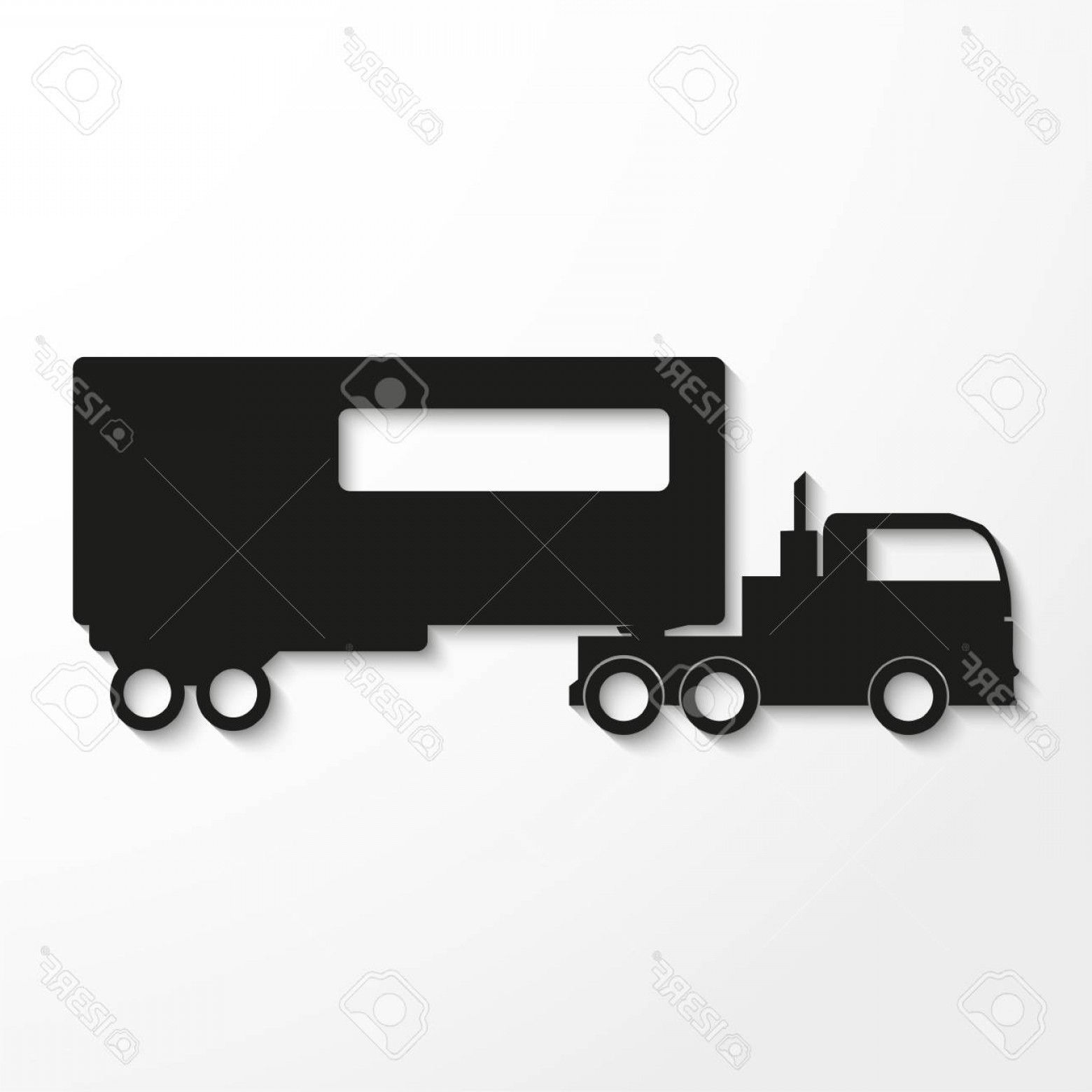 Vector Truck And Trailer Hauling: Photostock Vector Truck With Trailer Black Vector Icon