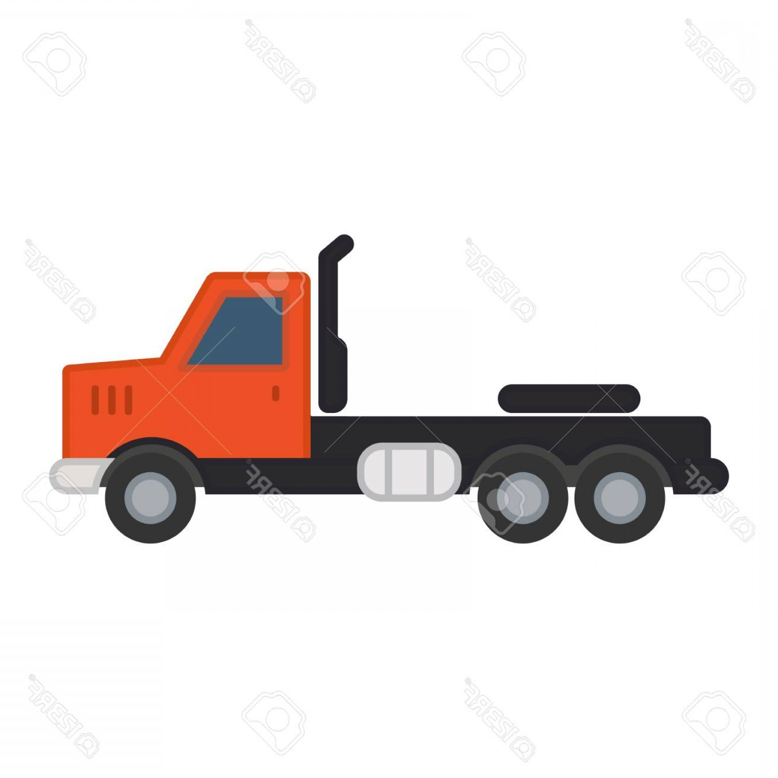 Vector Truck And Trailer Hauling: Photostock Vector Truck Without Trailer Simple Icon On White Background Ground Transport
