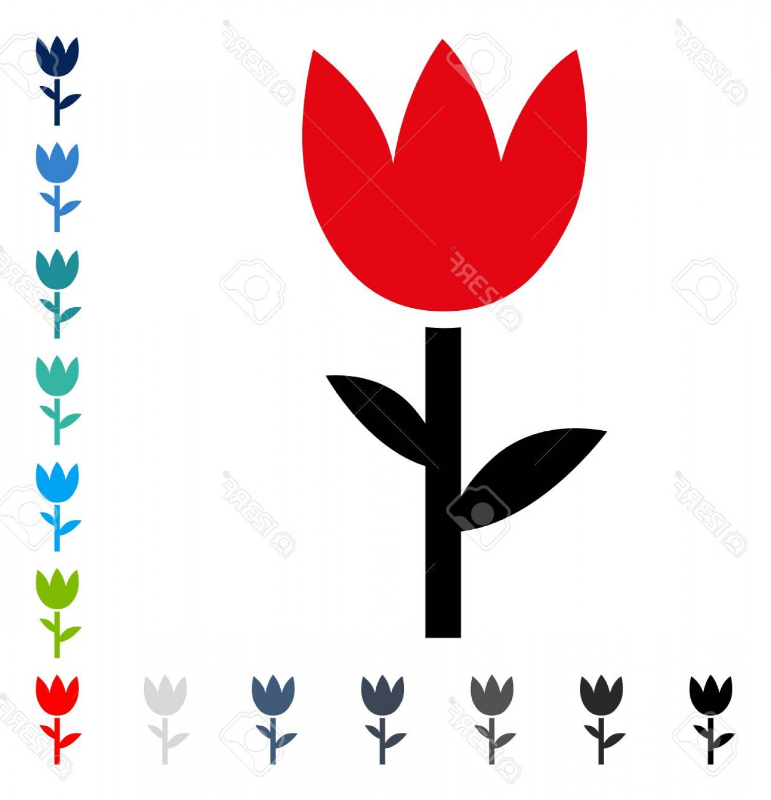 Tulip Icon Vector: Photostock Vector Tulip Icon Vector Illustration Style Is A Flat Iconic Symbol In Some Color Versions