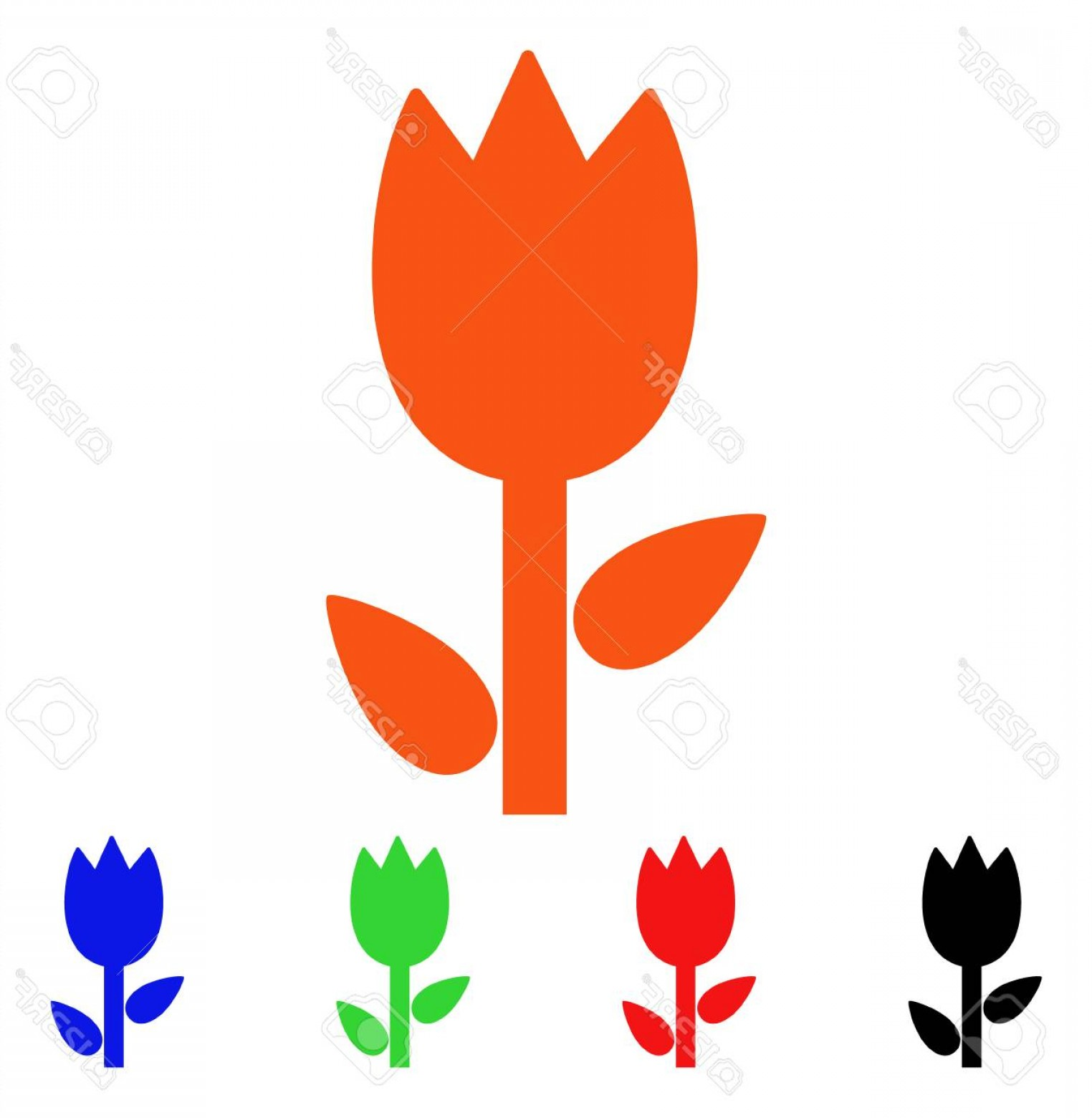 Tulip Icon Vector: Photostock Vector Tulip Icon Vector Illustration Style Is A Flat Iconic Tulip Symbol With Black Orange Red Green Blue