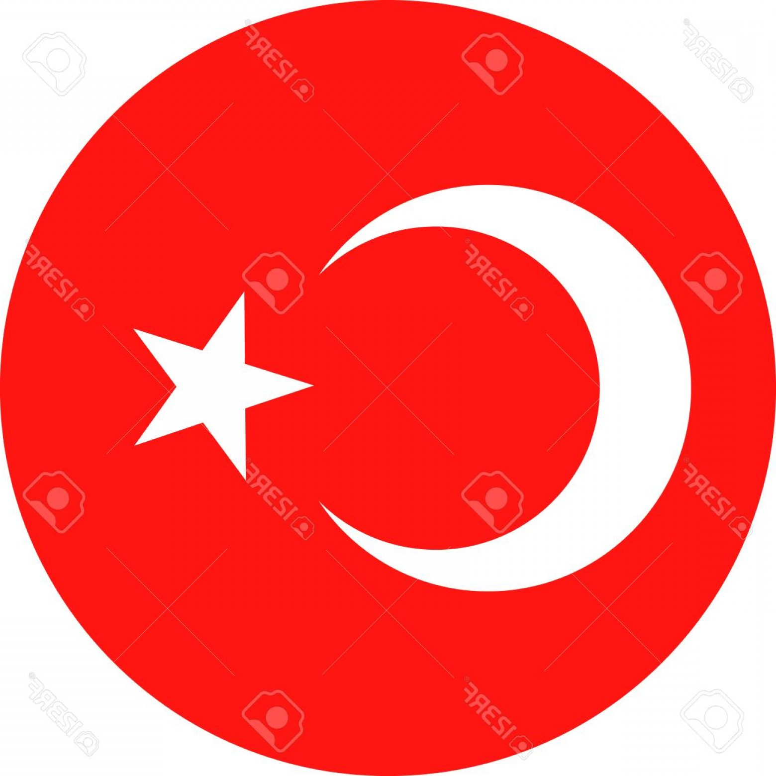 Turkey Logo Vector Art: Photostock Vector Turkey Flag Vector Round Flat Icon Illustration