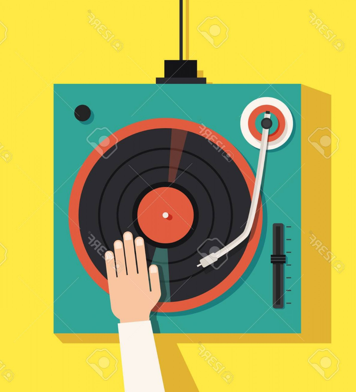 Vector DjDecks: Photostock Vector Turntable With Dj Hands Vector Flat Illustration Playing Mixing Music On Vinyl Turntable Equipment D