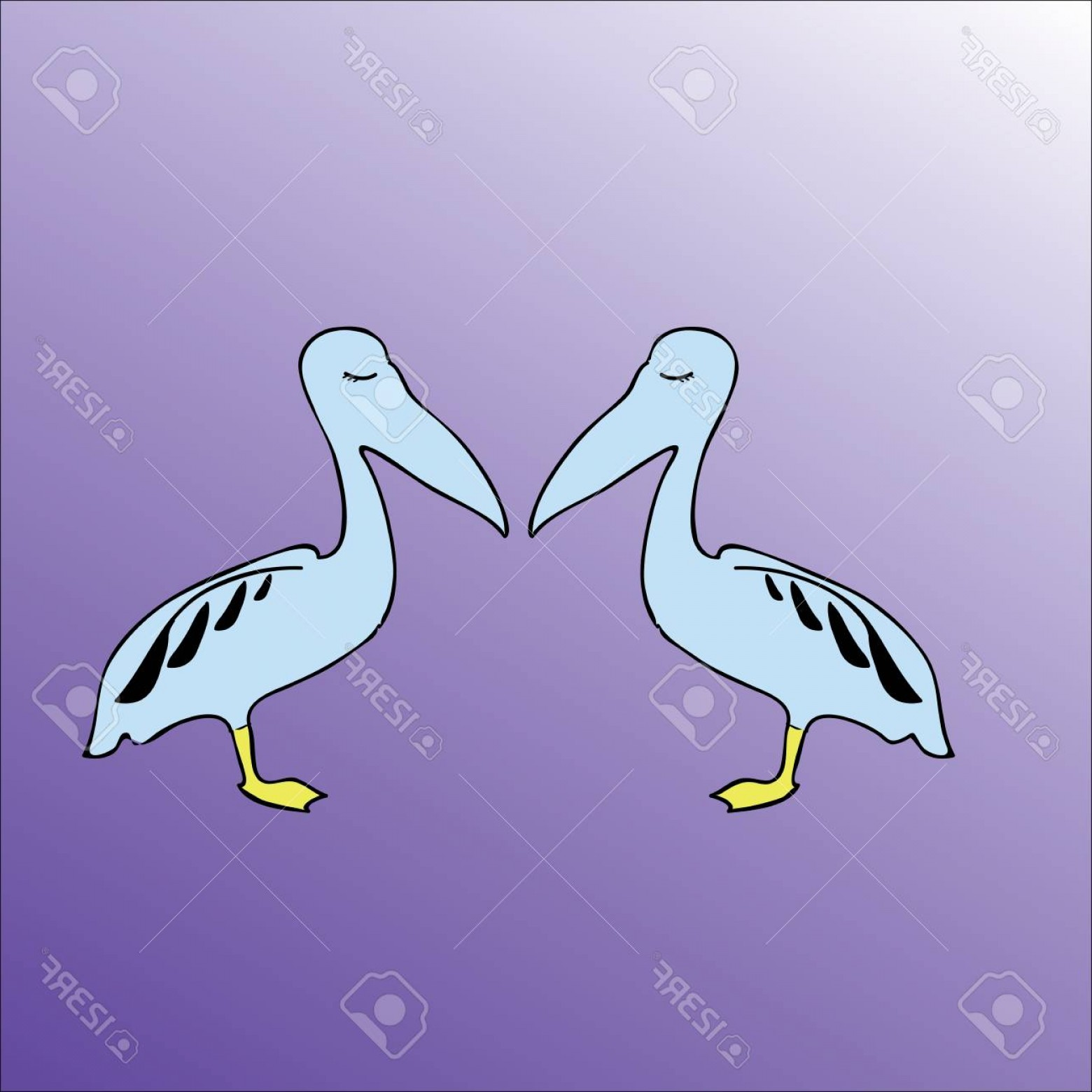 Pelican Vector Wings: Photostock Vector Two Blue Pelicans With Patterned Wings In Profile Standing On One Foot Opposite Each Other With Clos